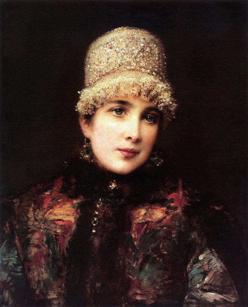 Русская красавица в кокошнике. 1890-е