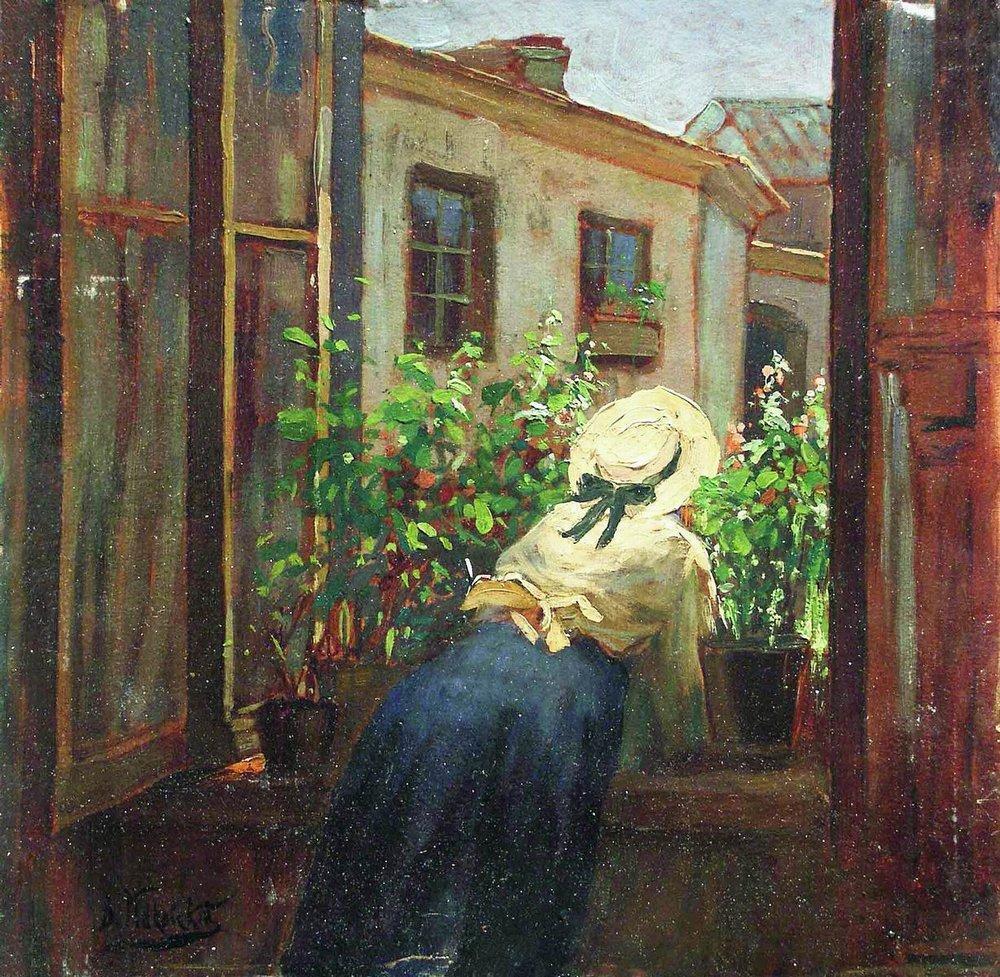 У раскрытого окна. Конец 1910-х