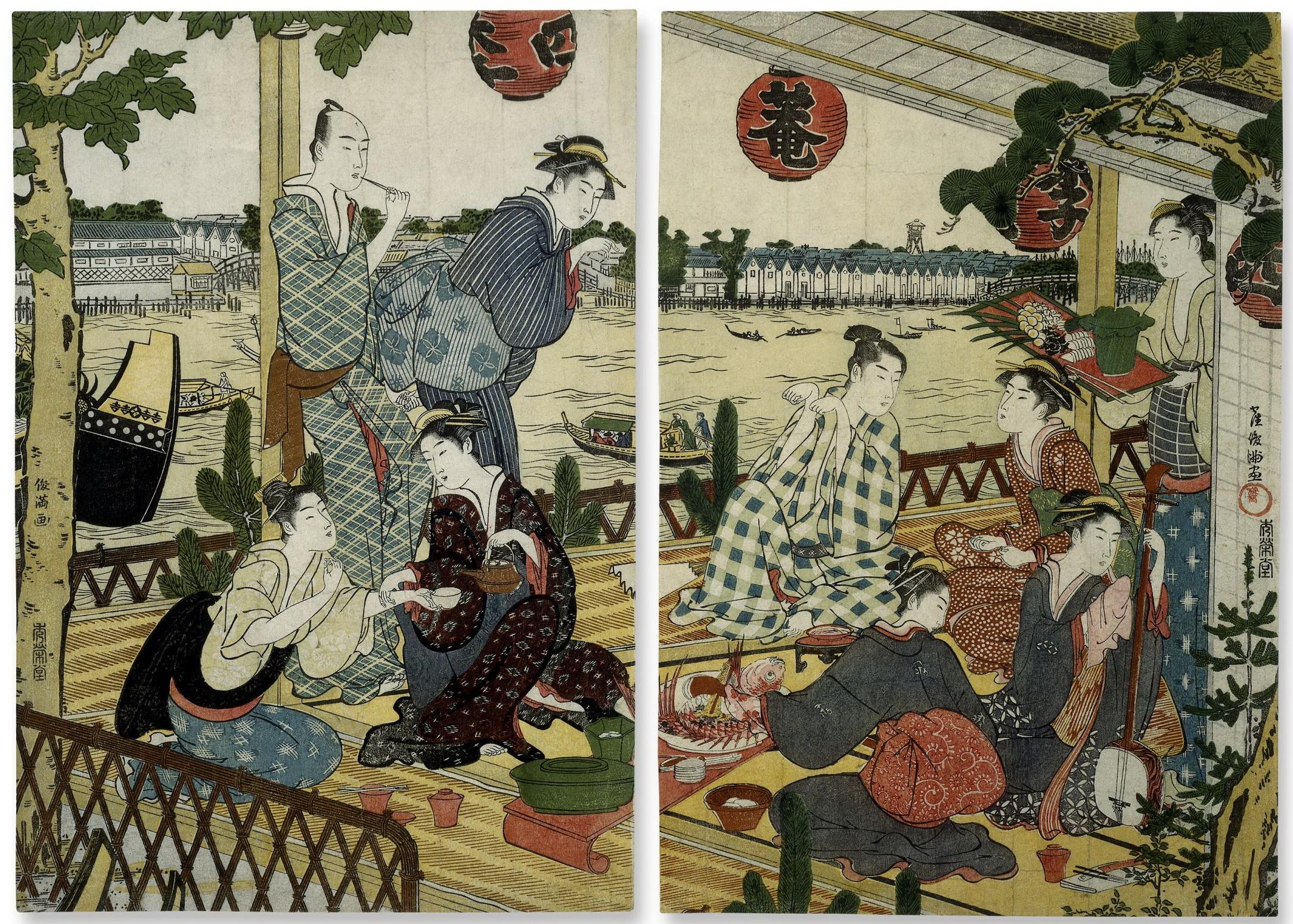 Диптих Общество на веранде чайного дома на берегу реки Сумида в Накасу_1787-1788