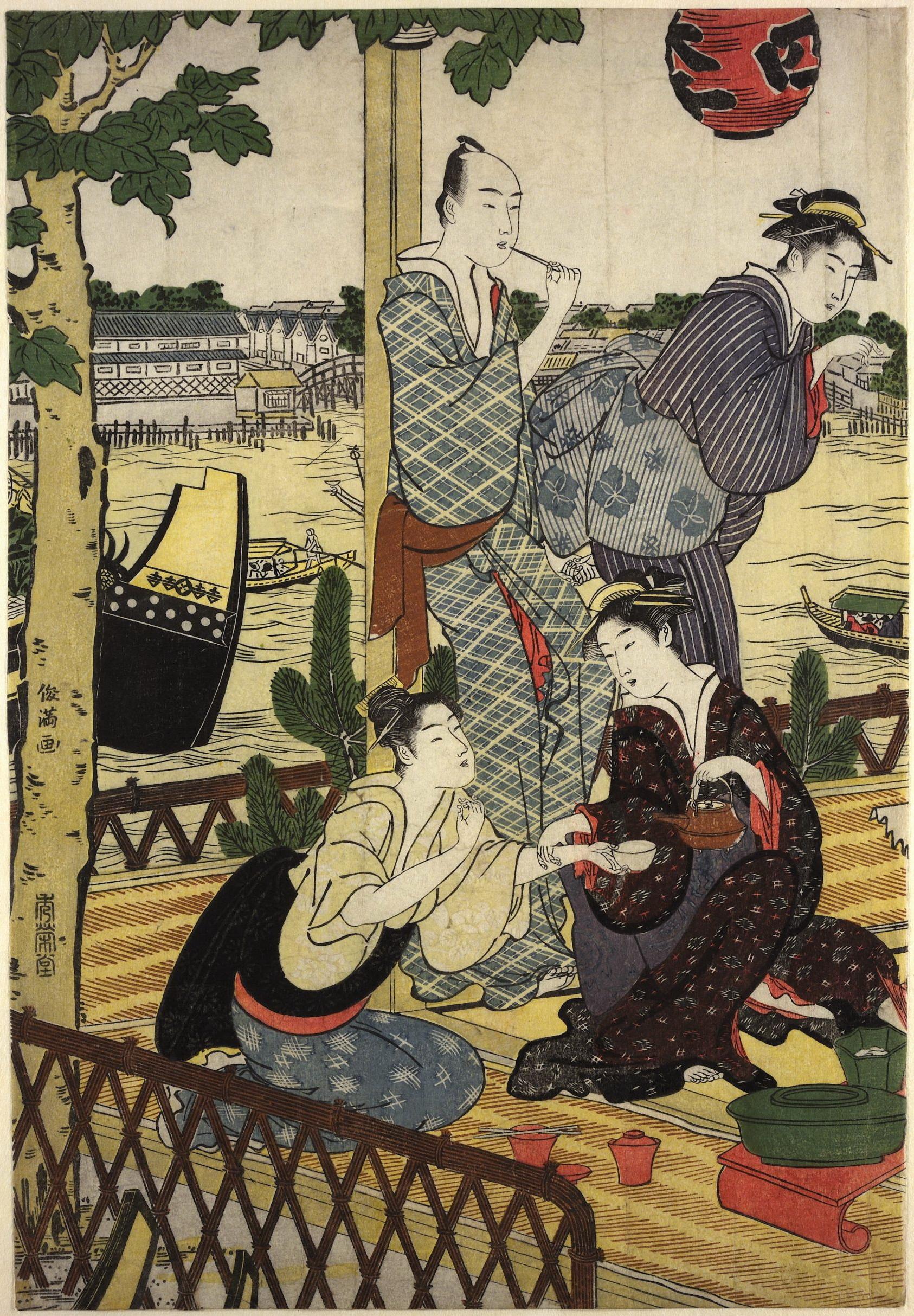 Диптих Общество на веранде чайного дома на берегу реки Сумида в Накасу_1787-1788_лист 1_363х253 мм