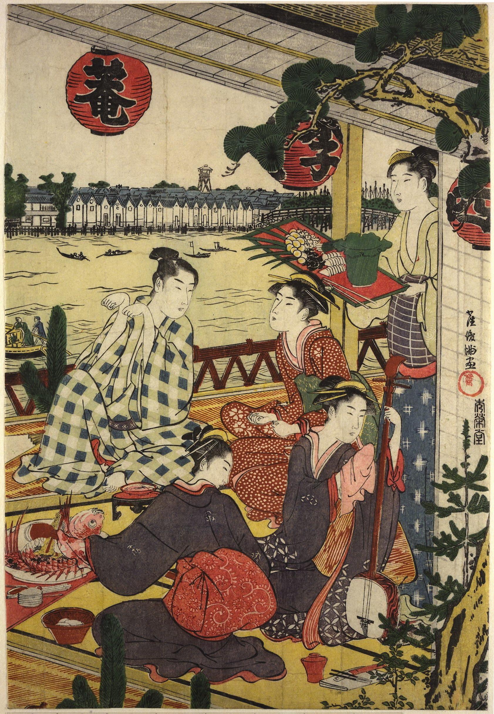 Диптих Общество на веранде чайного дома на берегу реки Сумида в Накасу_1787-1788_лист 2_363х253 мм