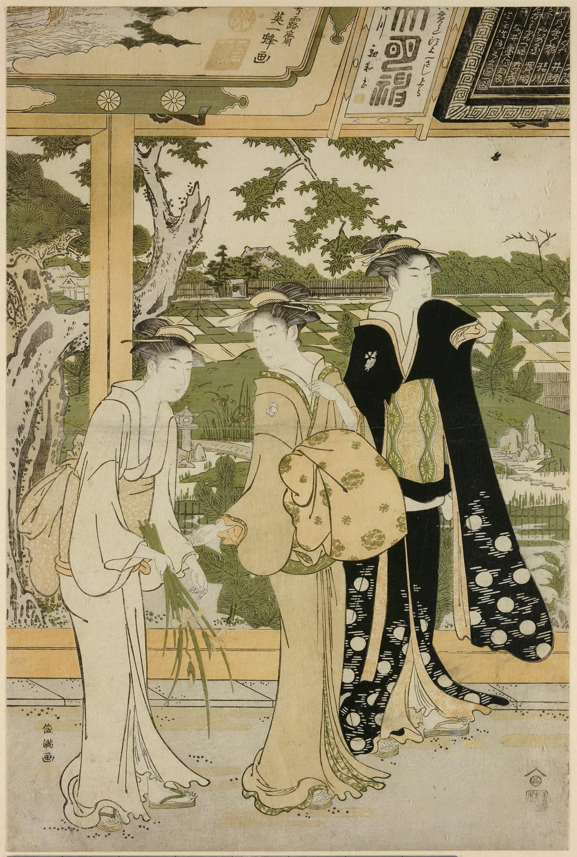 Диптих Посещение храма_лист 1.Три женщины на веранде храма на фоне рисовых полей
