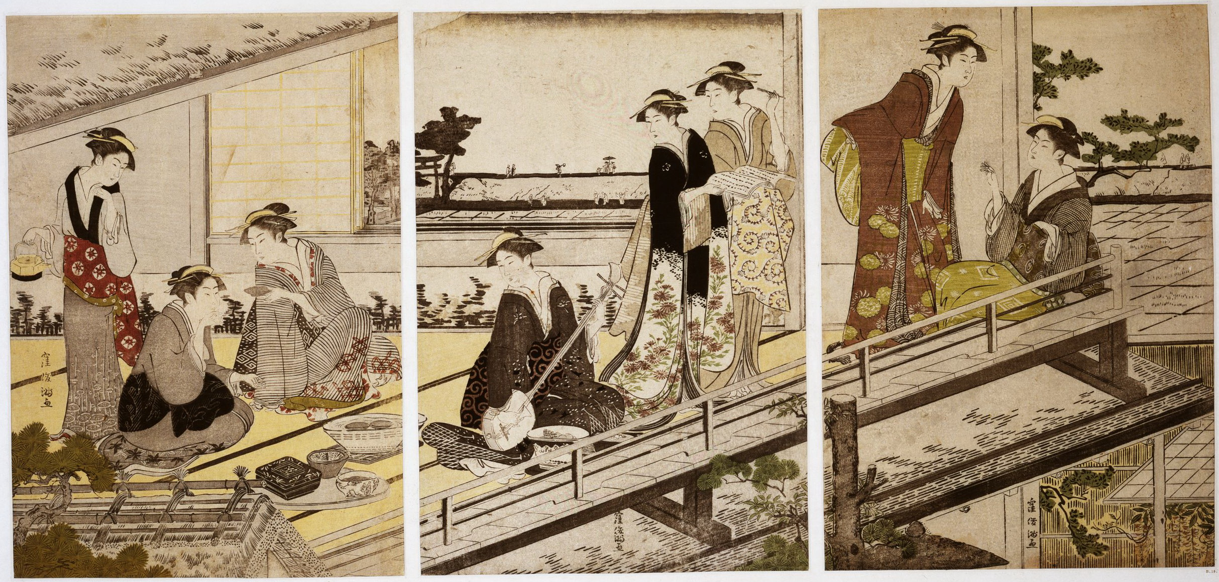 Триптих Сцена в ресторане Накадая в Микодзима_1787-1788