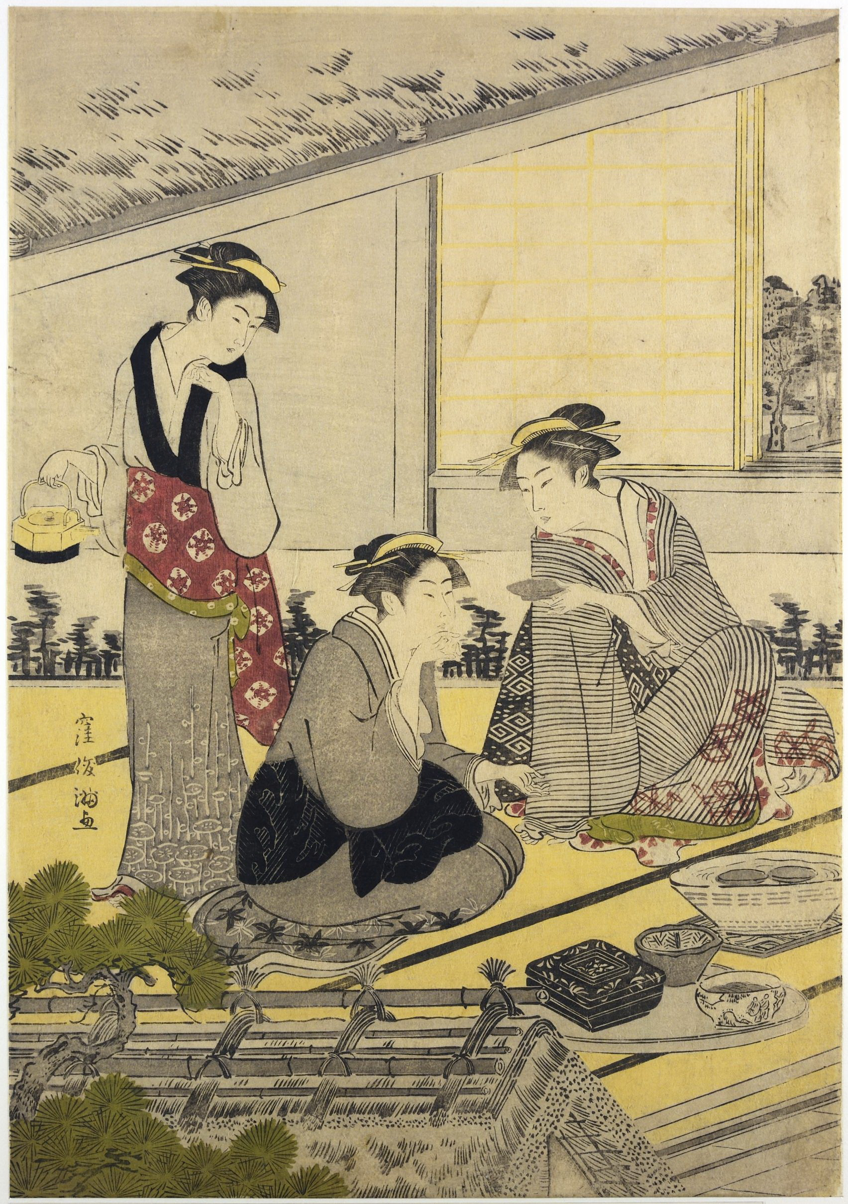 Триптих Сцена в ресторане Накадая в Микодзима_1787-1788_лист 1_320х220 мм