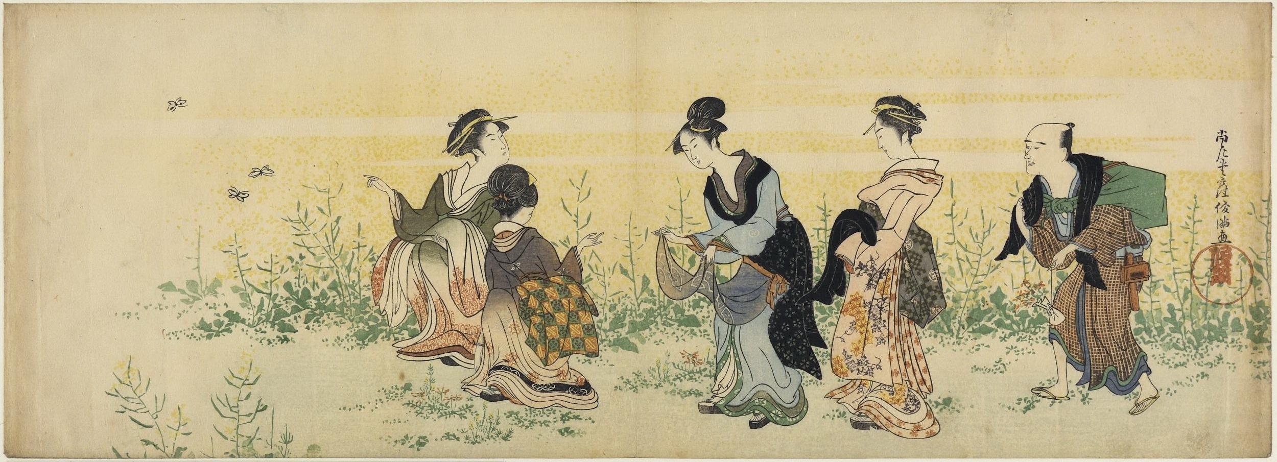 Женщины собирают в поле весенние цветы_ок.1800_185х518 мм