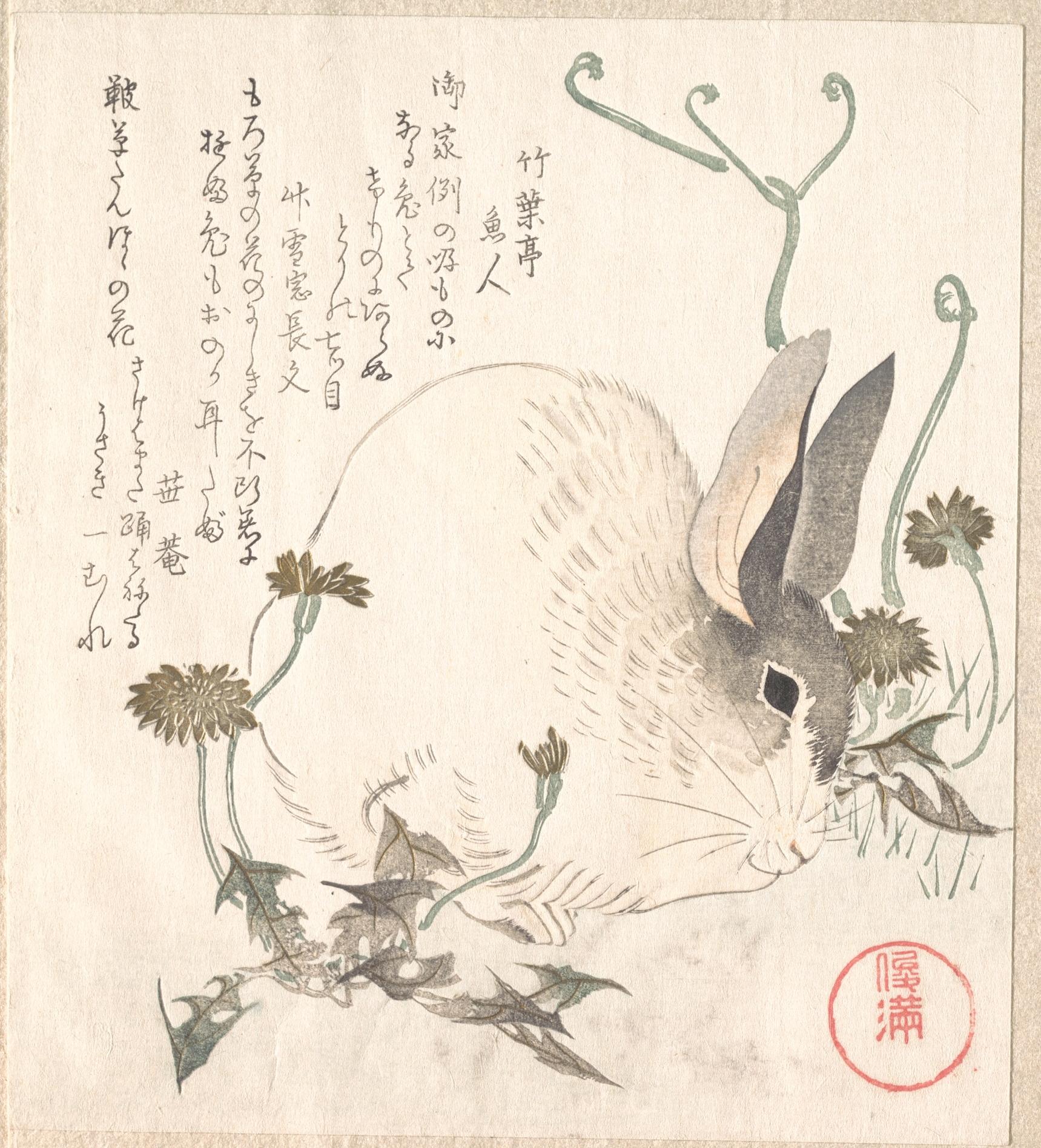 Заяц и одуванчики_ок.1820_200х178 мм