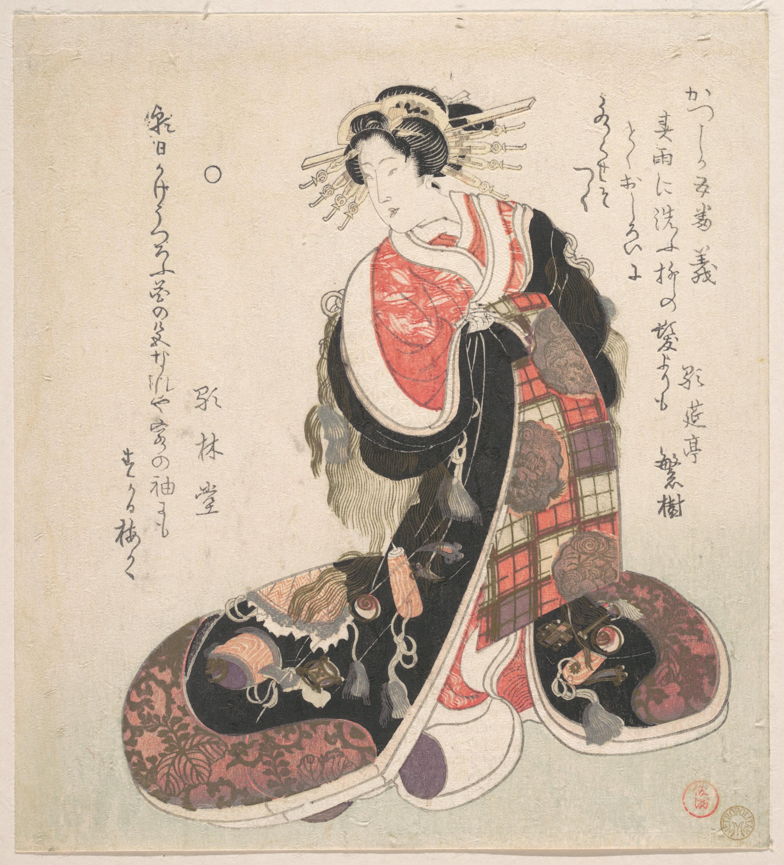 Куртизанка в кимоно с вышитыми эмблемами удачи_ок.1800_200х181 мм