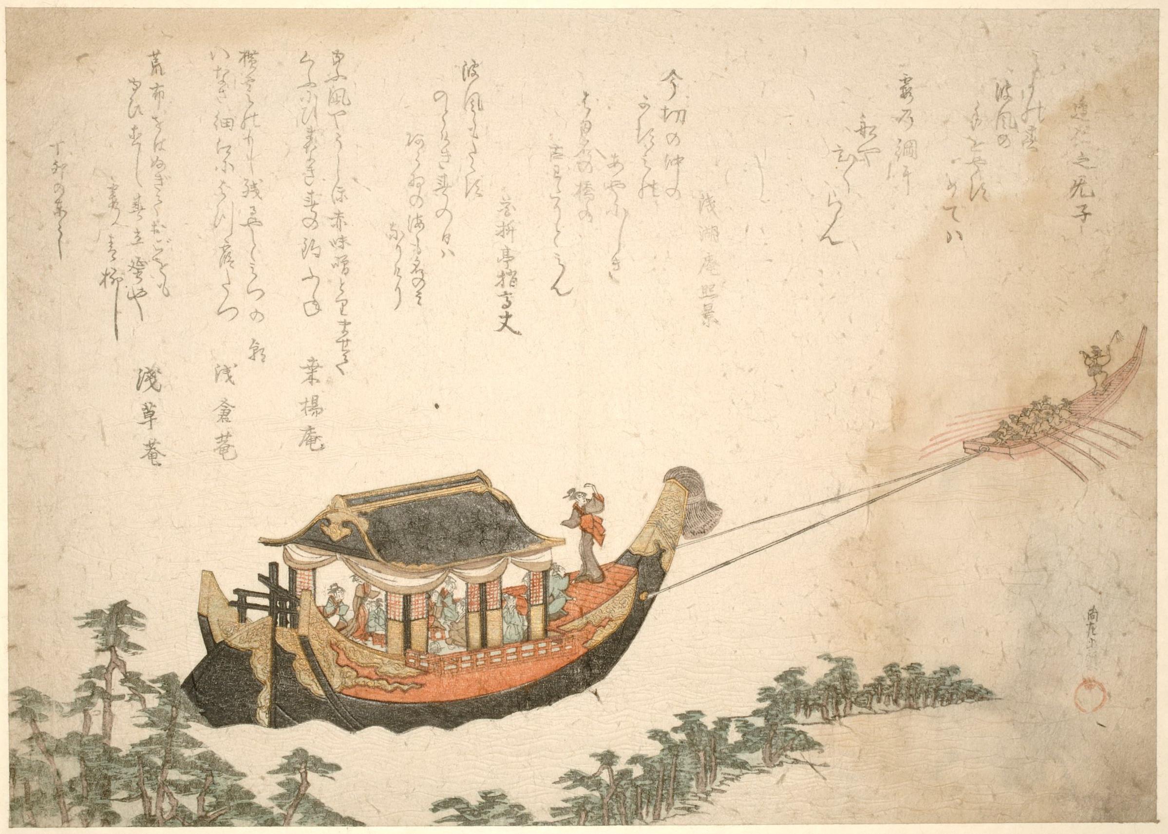 Лодка даймё у побережья Миё. На борту лодки дамы наслаждаются чаепитием_1807