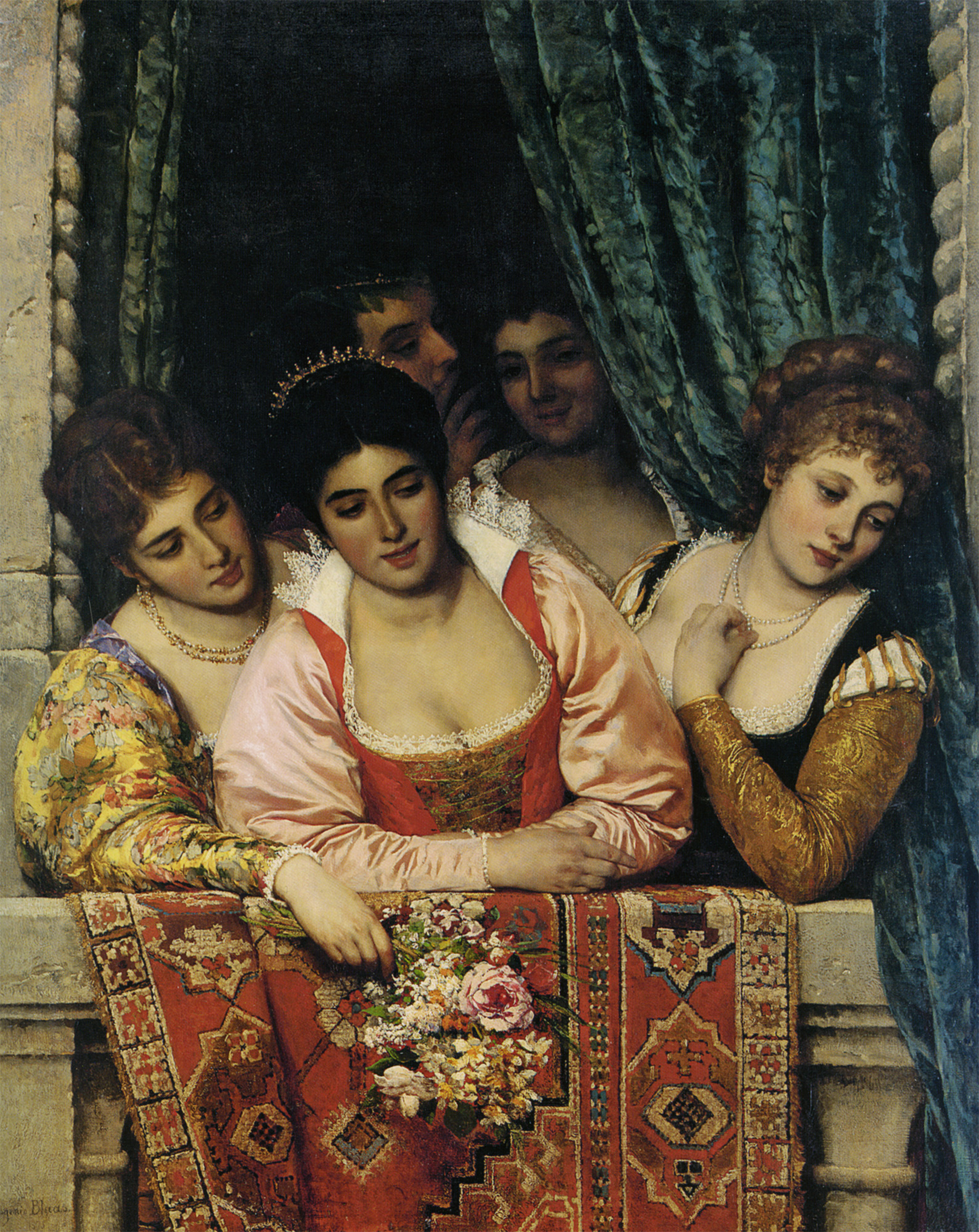 Blaaas_Eugen_Von_Venetian_Ladies_on_A_Balcony_1875