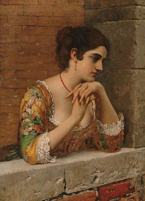 Blaas_Eugen_von_venetian_beauty_on_balcony