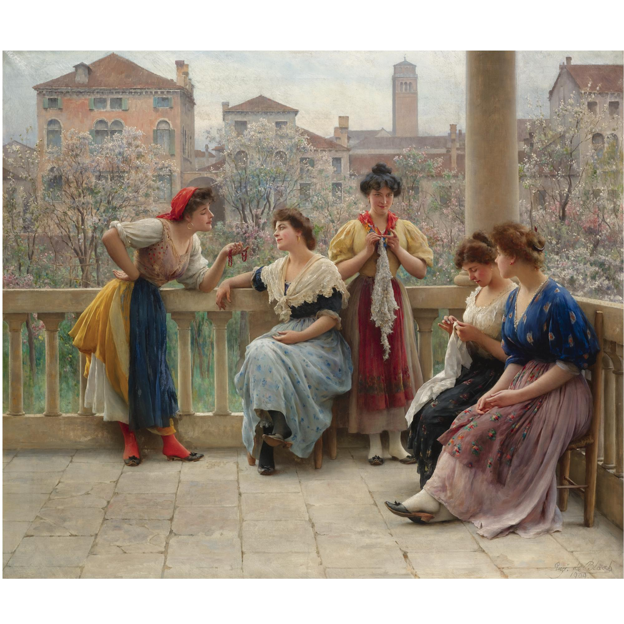 Conversation on the terrace, Venice