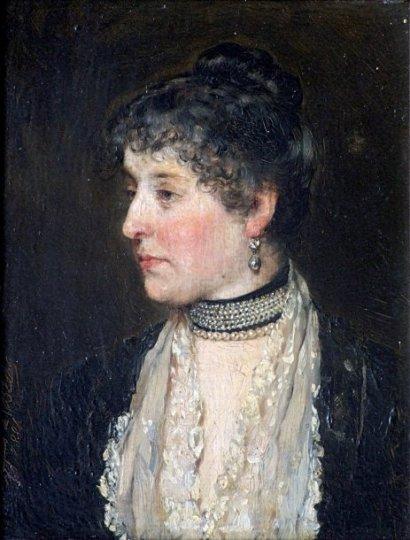Portrait de femme au collier de chien. Huile sur panneau, signé à gauche vers le bas et daté 1881