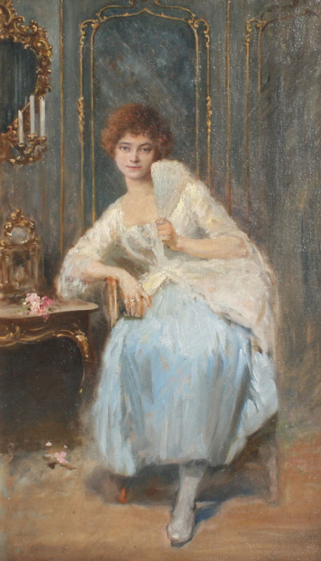 Portrait of a Young Girl Seated in Interior with Fan