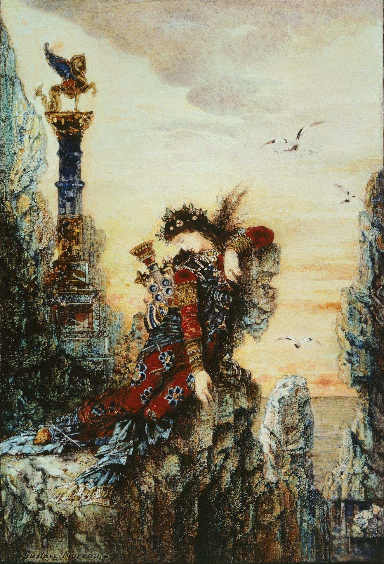 1869-1872_Сапфо на скале (акварель) (Лондон, музей Виктории и Альберта)
