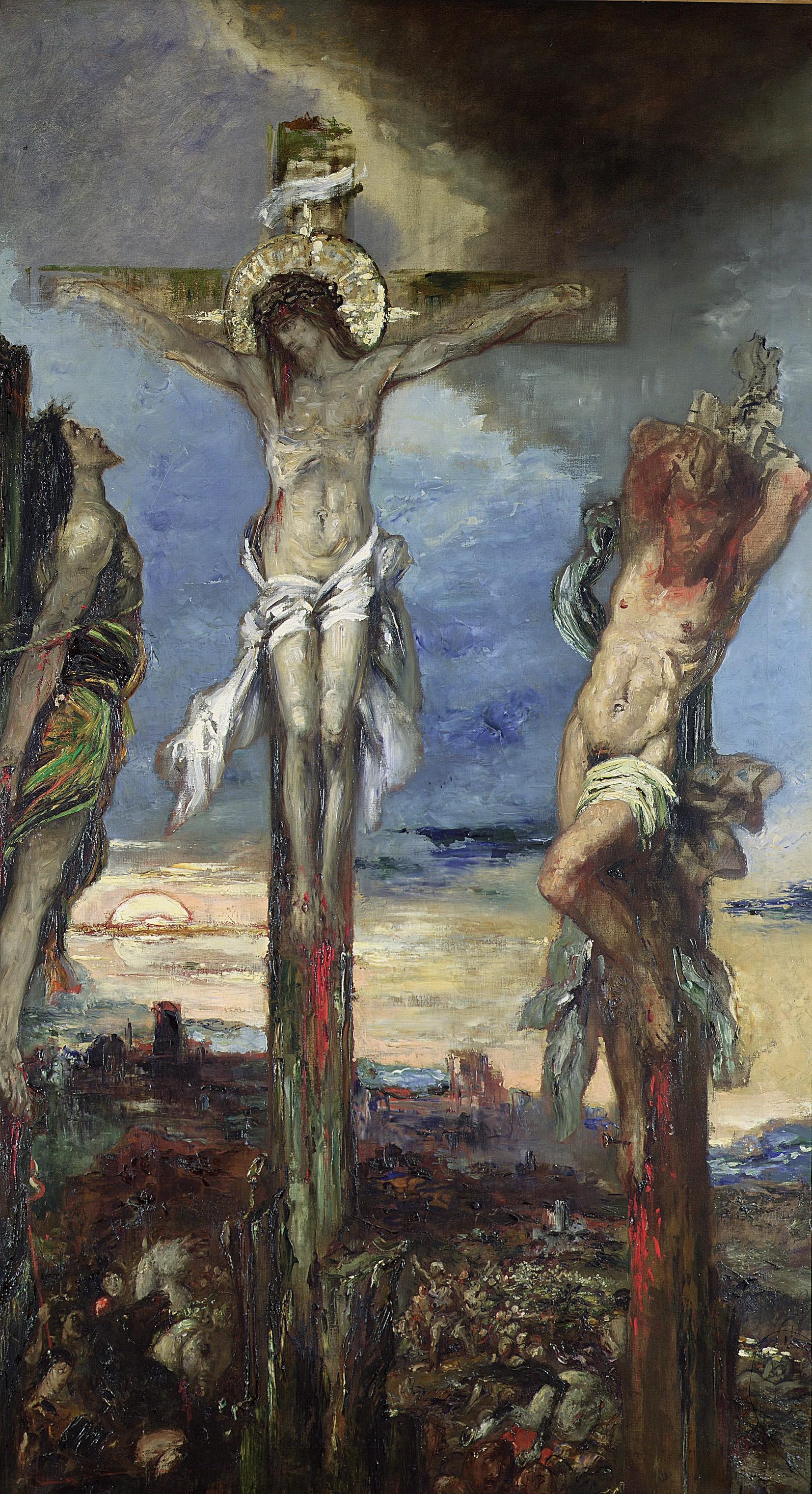 1870 (ок)_Христос между двумя разбойниками (20 х 120 см) (Париж, музей Гюстава Моро)