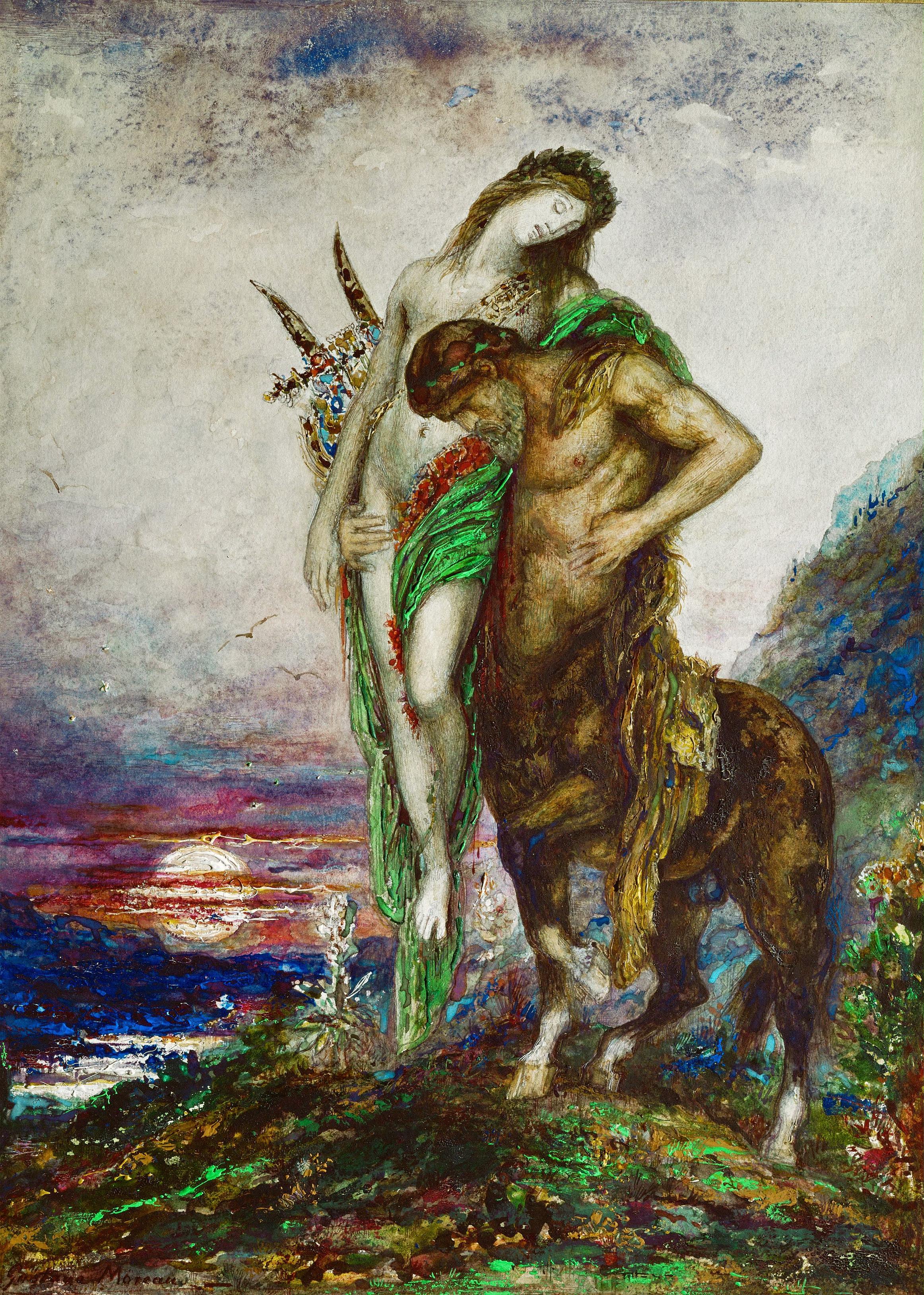 1870_Кентавр, несущий мертвого поэта (акварель, гуашь и карандаш) (Париж, музей Гюстава Моро)
