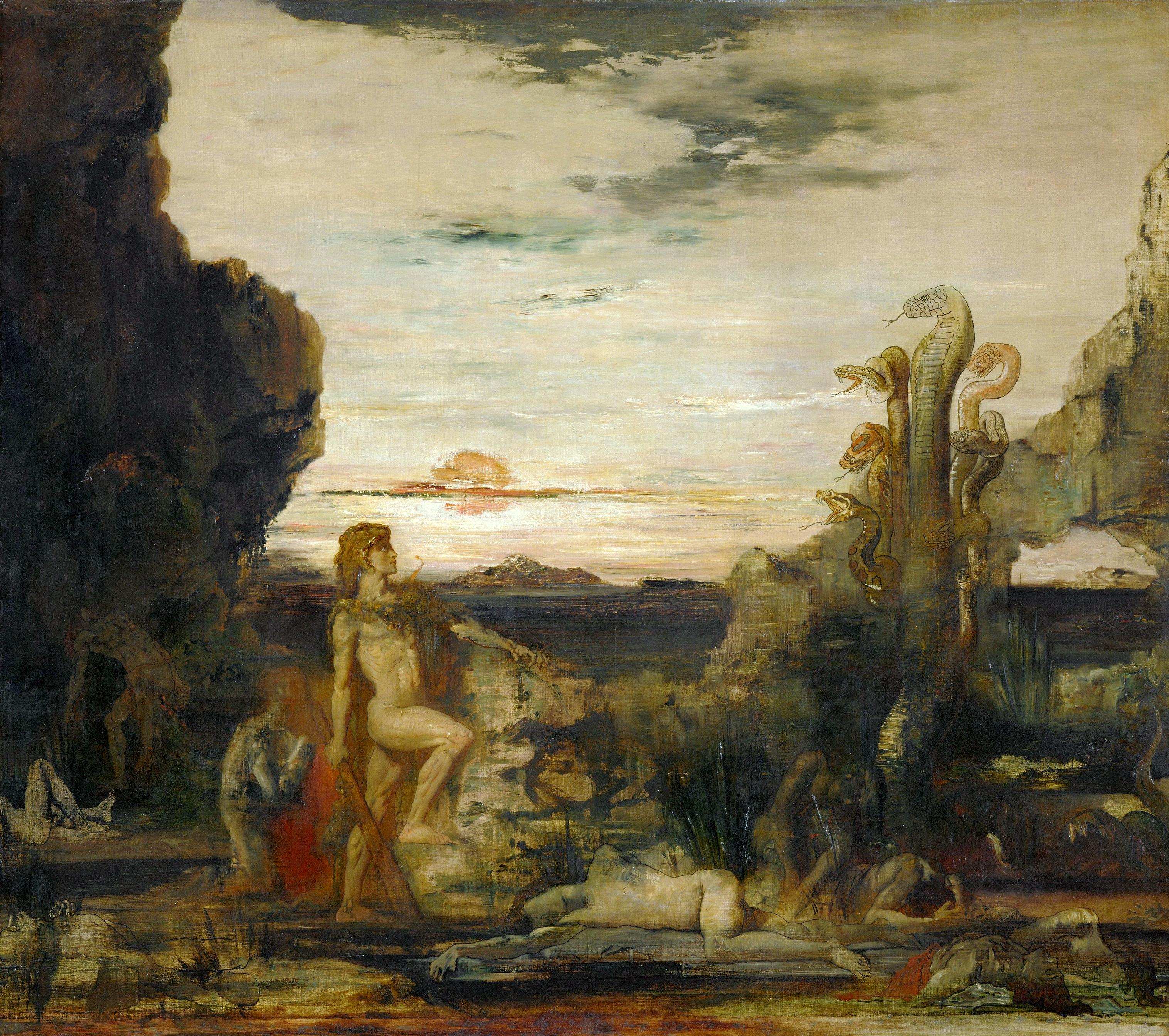 1875_Геркулес и лернейская гидра (142 х 168 см) (Париж, музей Гюстава Моро)