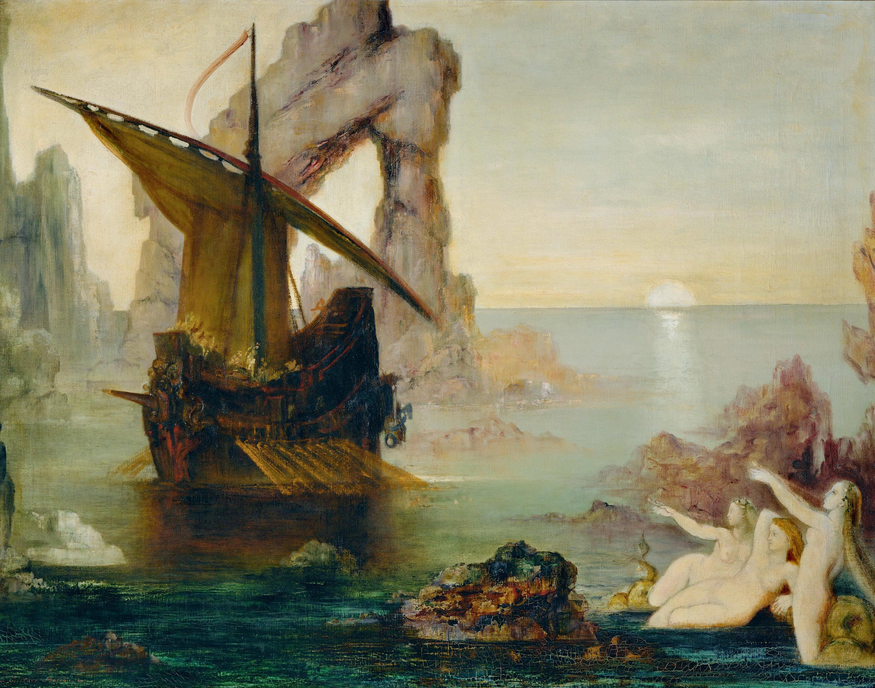 1875-1880_Одиссей и сирены (90,3 x 117 см) (Париж, музей Гюстава Моро)