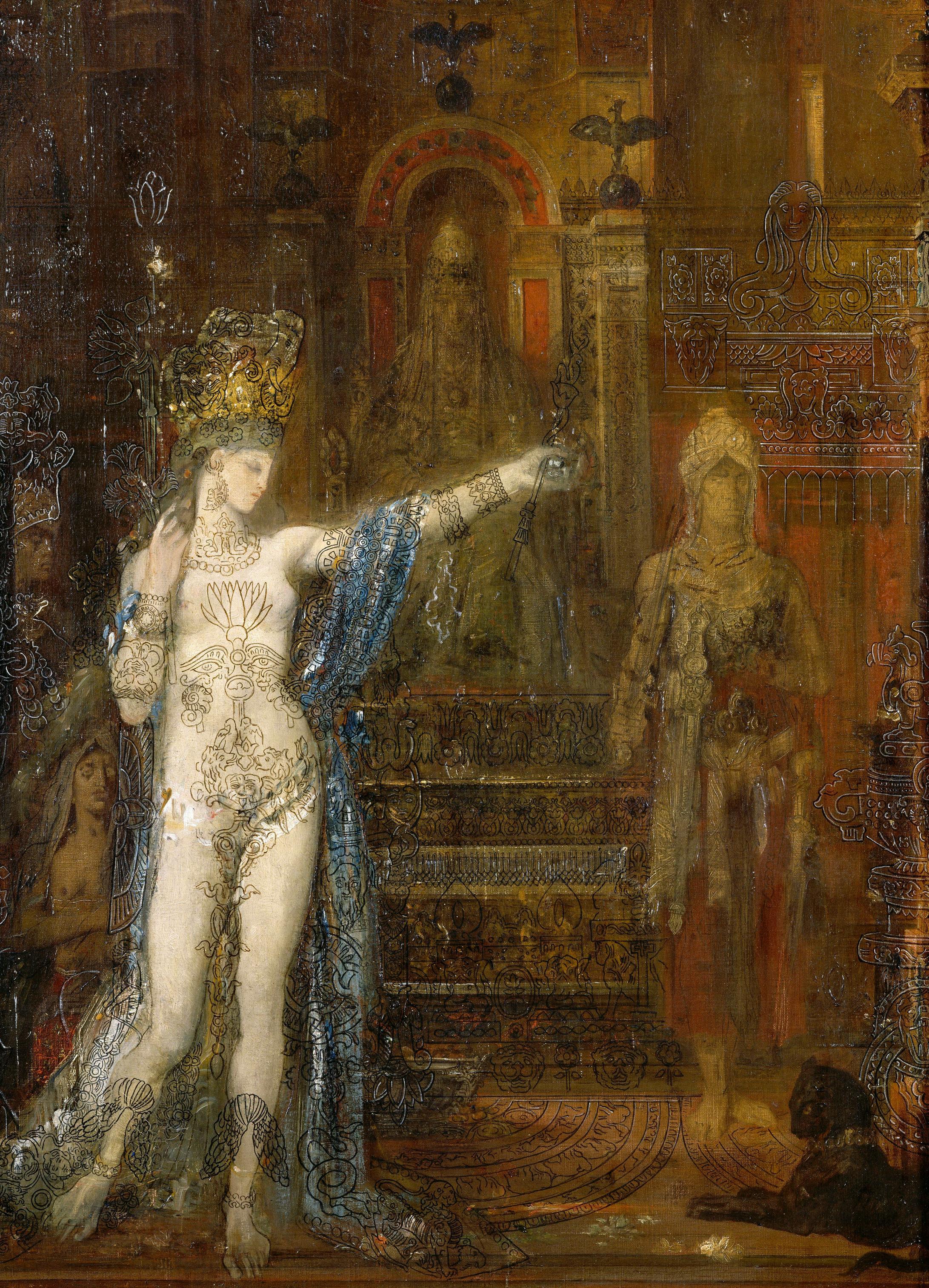 1876 (ок)_Саломея, танцующая перед Иродом (92 х 60 см) (Париж, музей Гюстава Моро)-деталь