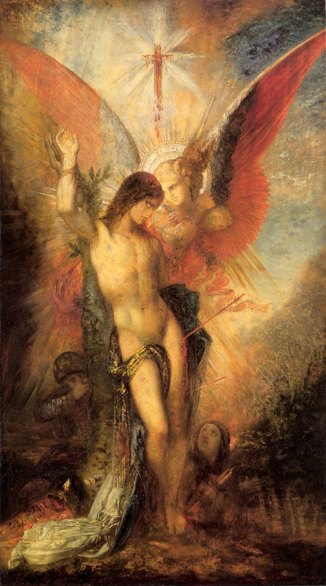 1876_Святой Себастьян и ангел (38.7 х 67.8 см) (Кембридж, Гарвардский ун-т, музей Фогга)