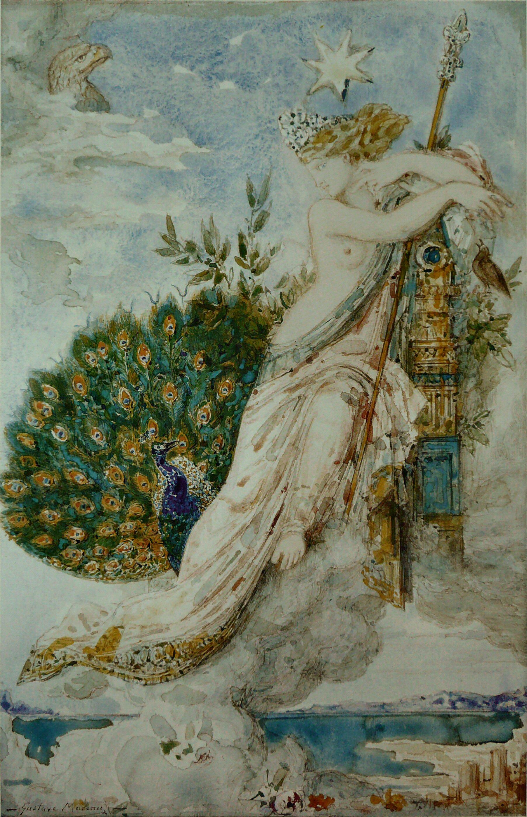 1881_Жалоба павлина Юноне (31 х 21) (акварель) (Париж, музей Гюстава Моро)
