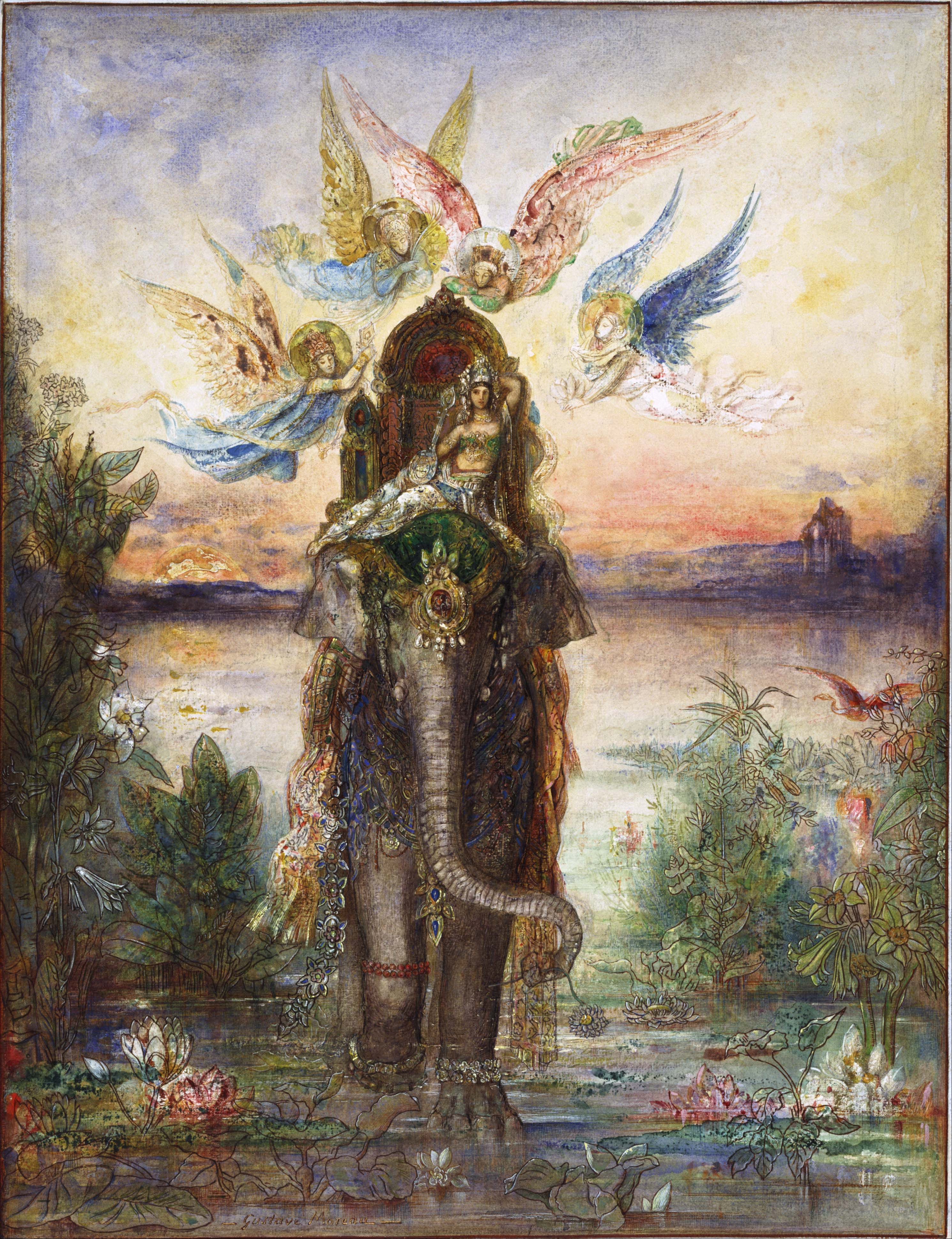1882_Священный слон (Пери) (57 х 43.5 см) (акварель и гуашь) (Токио, Нац. музей западного искусства)