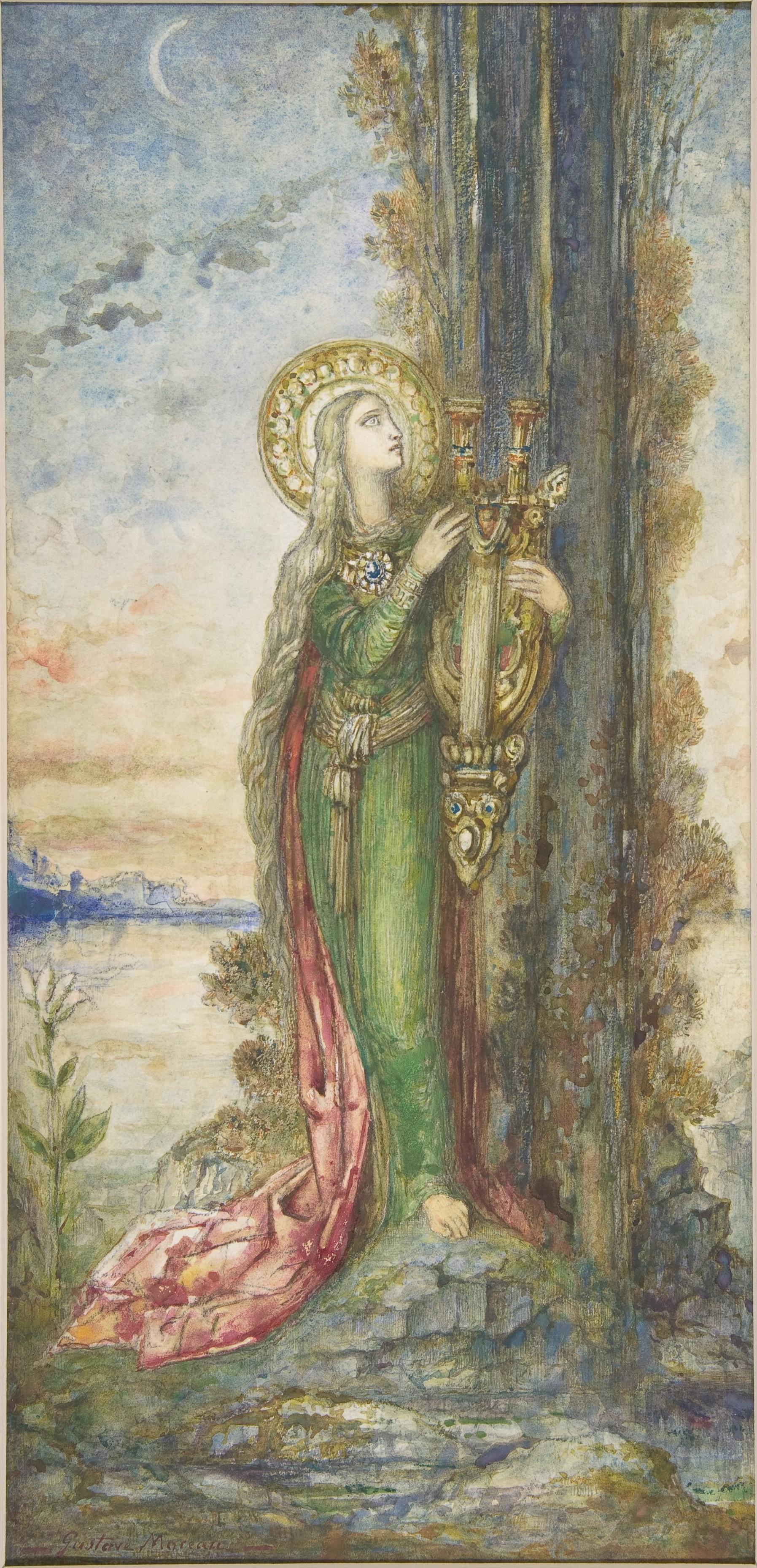 1890-1895_Святая Цецилия (33.8 х 16.2 см) (акварель и гуашь поверх графитного рисунка) (Нью-Йорк, Метрополитен)