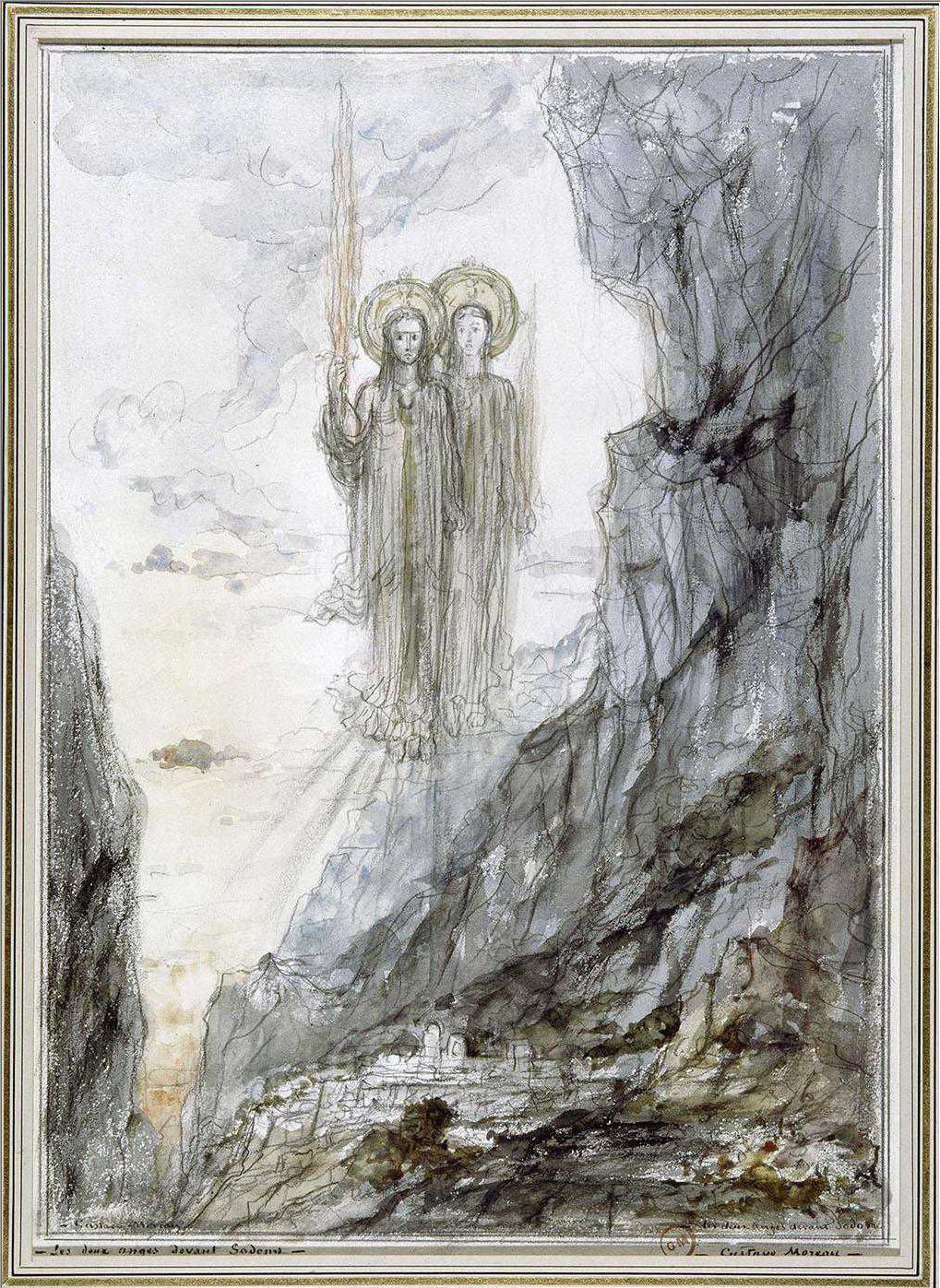 Ангелы Содома (35.9 х 25.5 см) (акварель и карандаш) (Париж, музей Гюстава Моро)