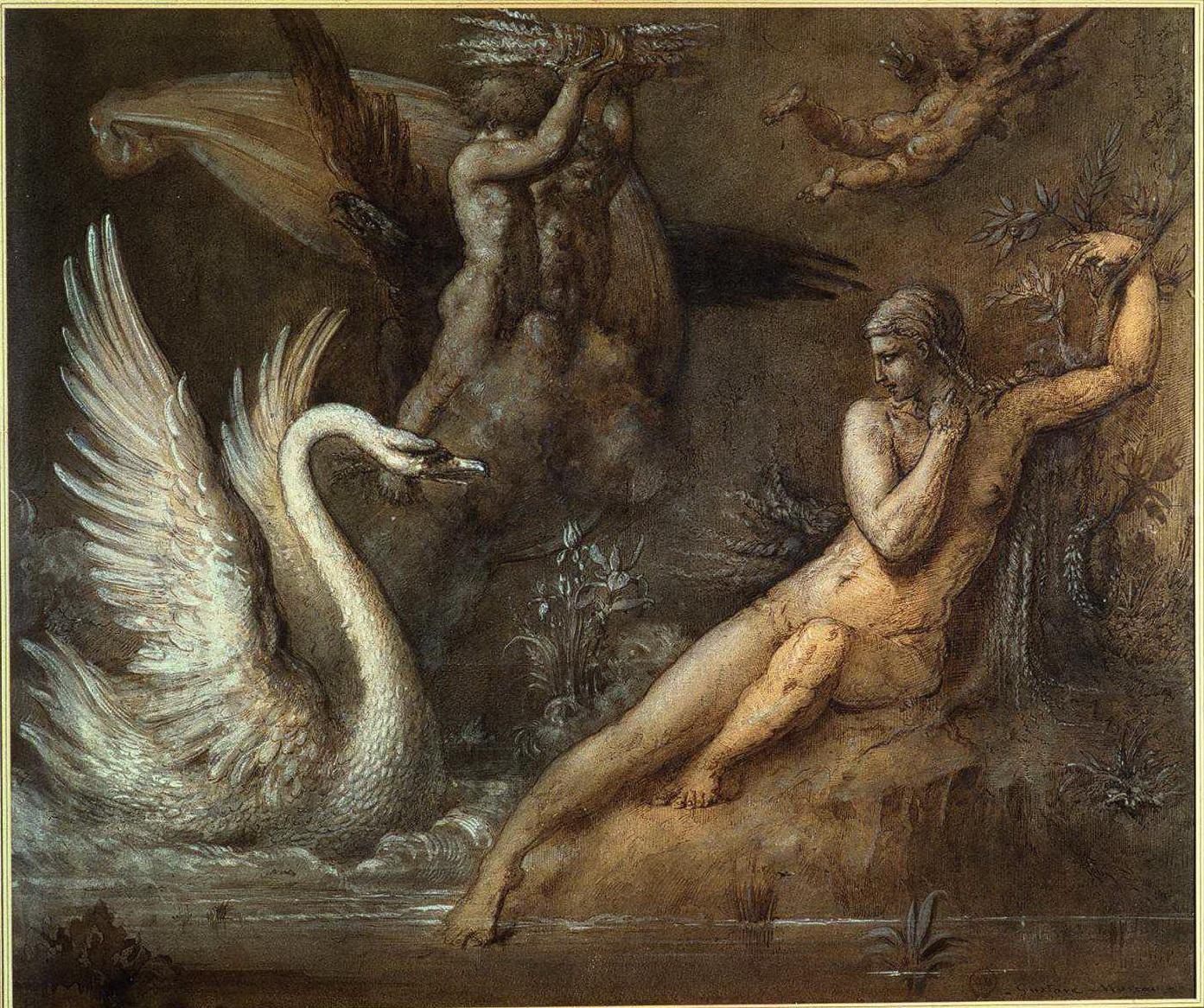 Леда и лебедь (36.8 х 44см) (гуашь, карандаш, перо) (Париж, музей Гюстава Моро)