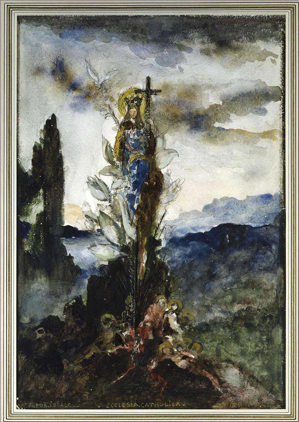 Мистический цветок (35.3 х 24 см) (акварель, гуашь и уголь) (Париж, музей Гюстава Моро)