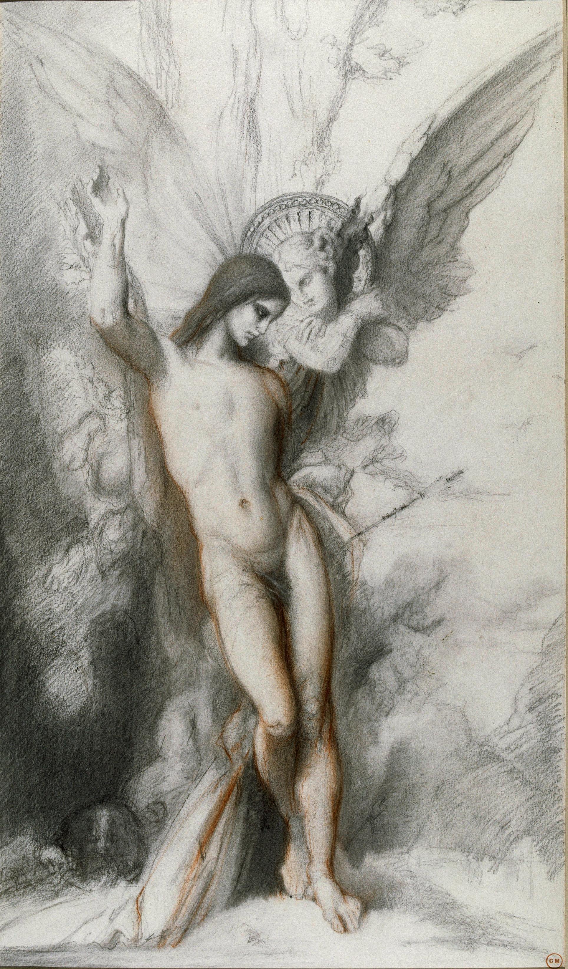 Святой Себастьян и ангел (61.4 х 35.8 см) (свинцовый карандаш, сангина) (Париж, музей Гюстава Моро)