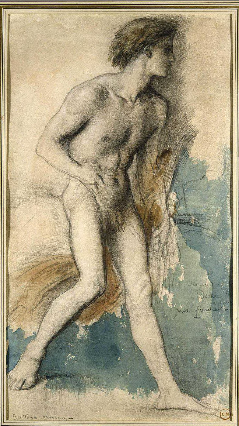 Тесей (этюд к картине Ариадна и Тесей) (акварель и карандаш) (Париж, музей Гюстава Моро)