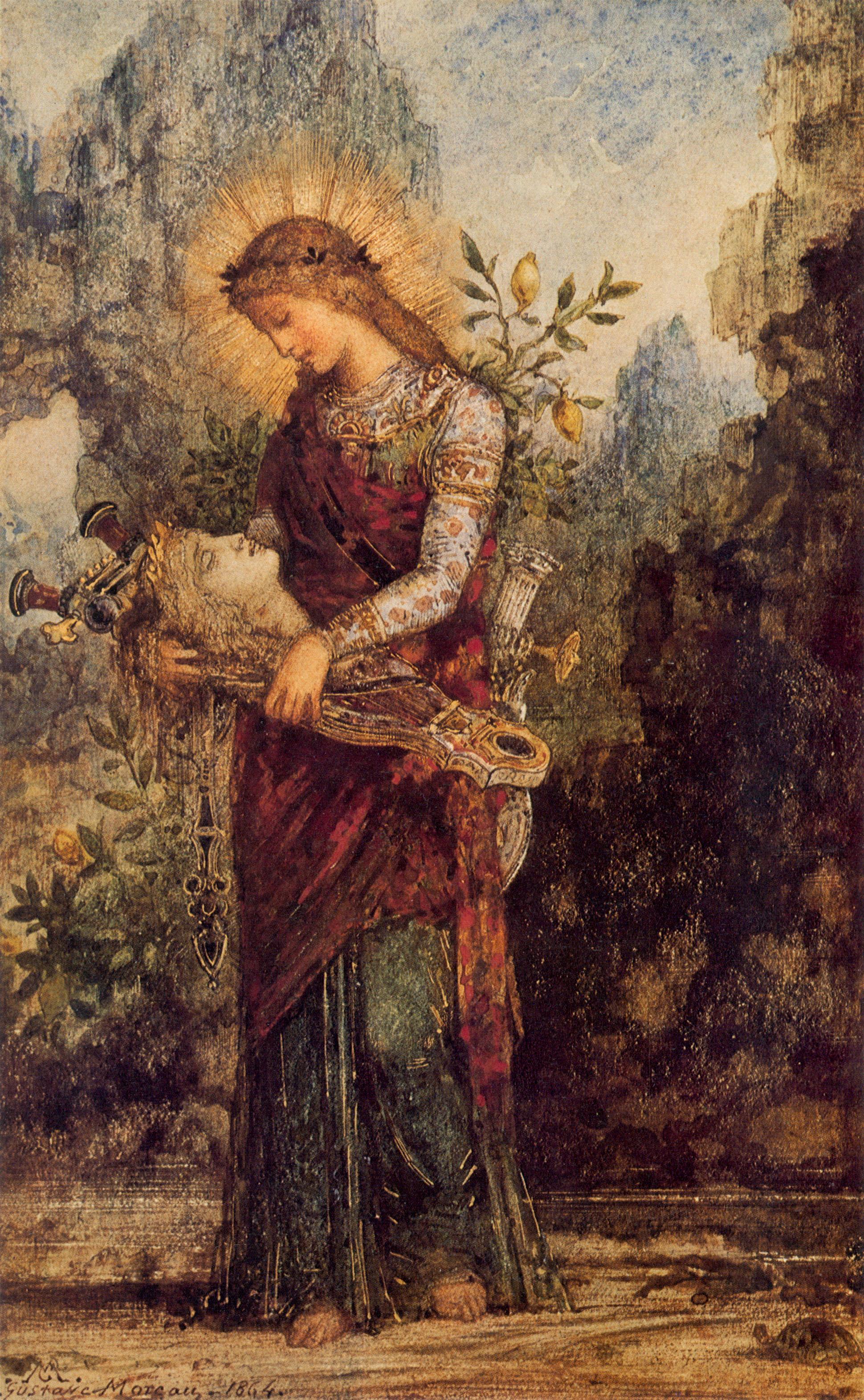 1864_Фракийская дквушка, несущая главу Орфея (акварель и гуашь) (частная коллекция)