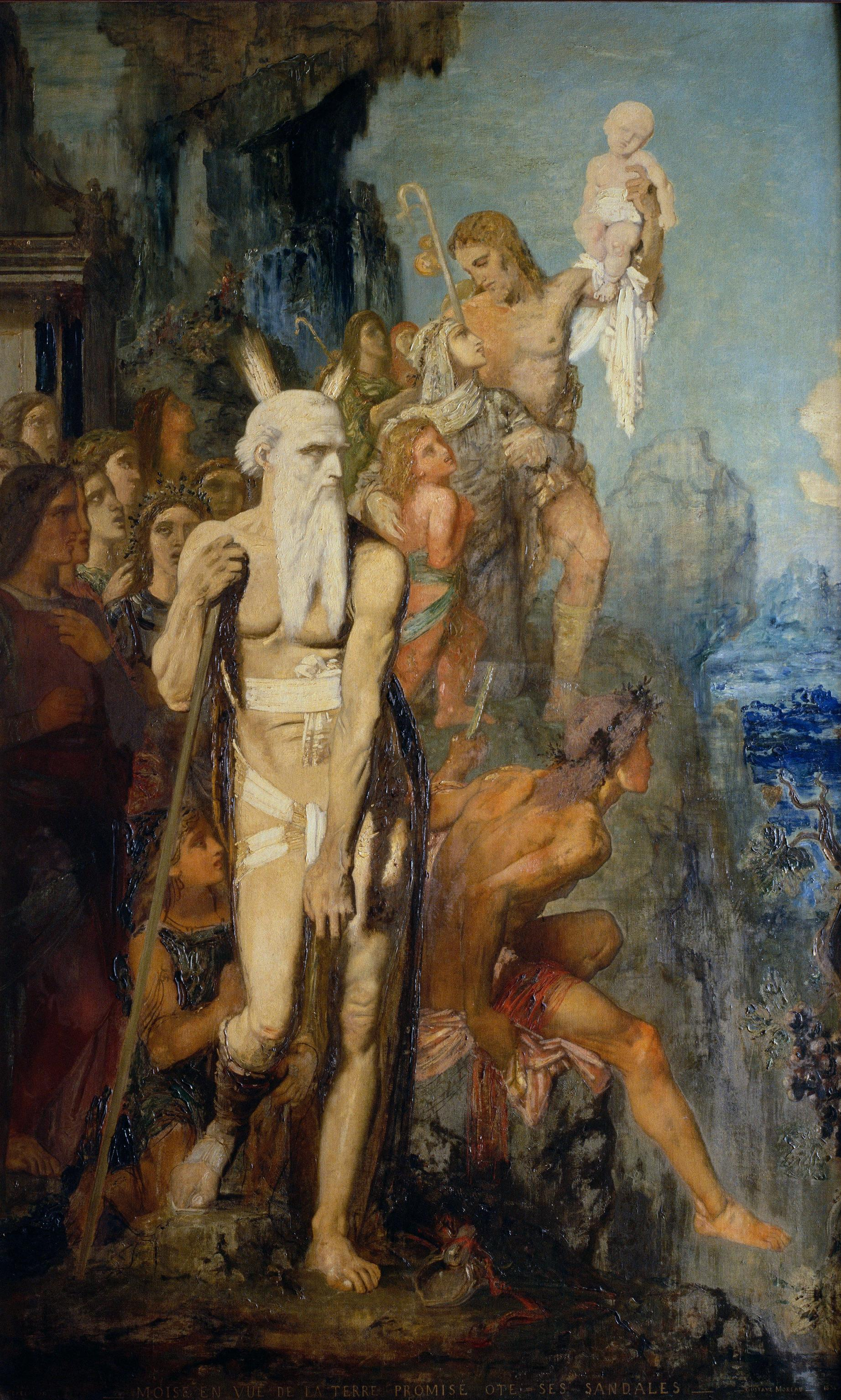 1854_Моисей снимает сандали, глядя на Землю Обетованную (245 х 151 см) (Париж, музей Гюстава Моро).