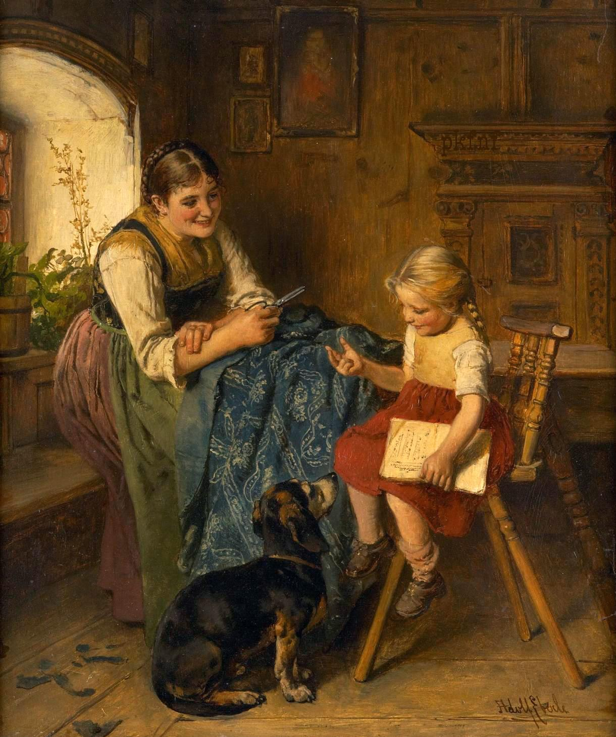 Family scene with young mother, child and dog