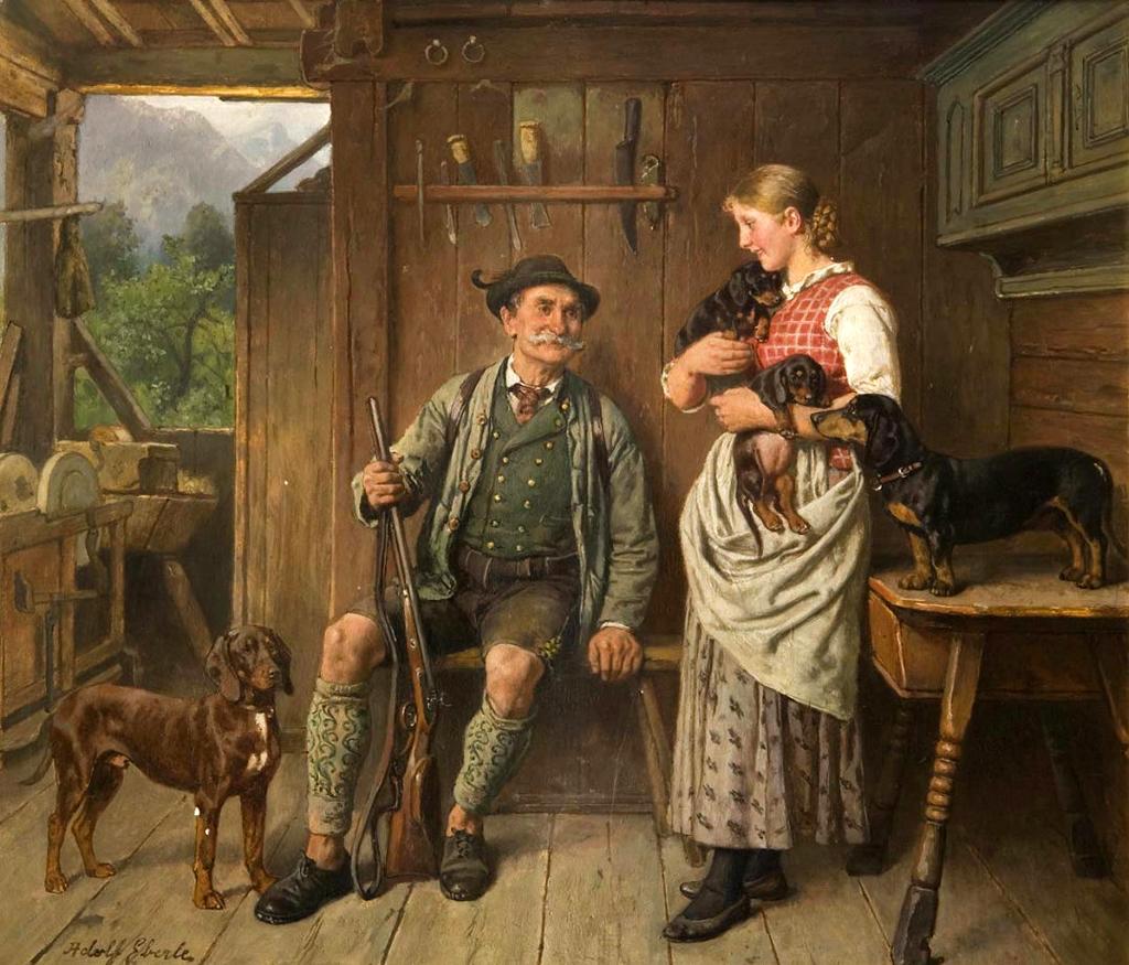 Maid, huntsman and dachshund family