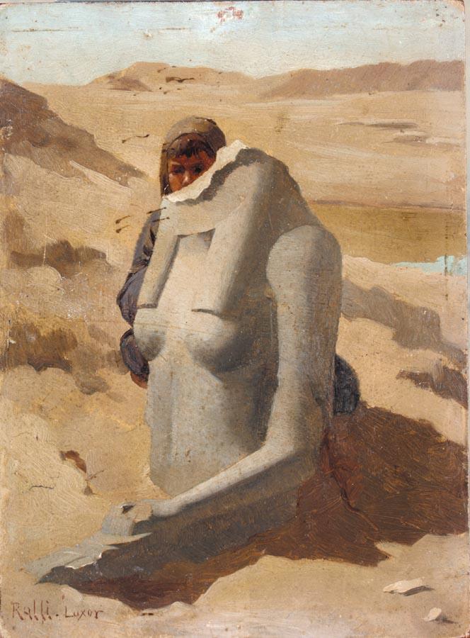 Theodoros_Rallis_-_Child_Hiding_Behind_Egyptian_Sculpture,_Luxor