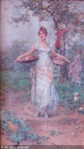 Femme à la cueillette des pommes