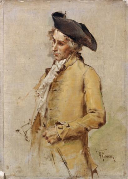 Portrait d'un homme en habit du XVIIIème siècle