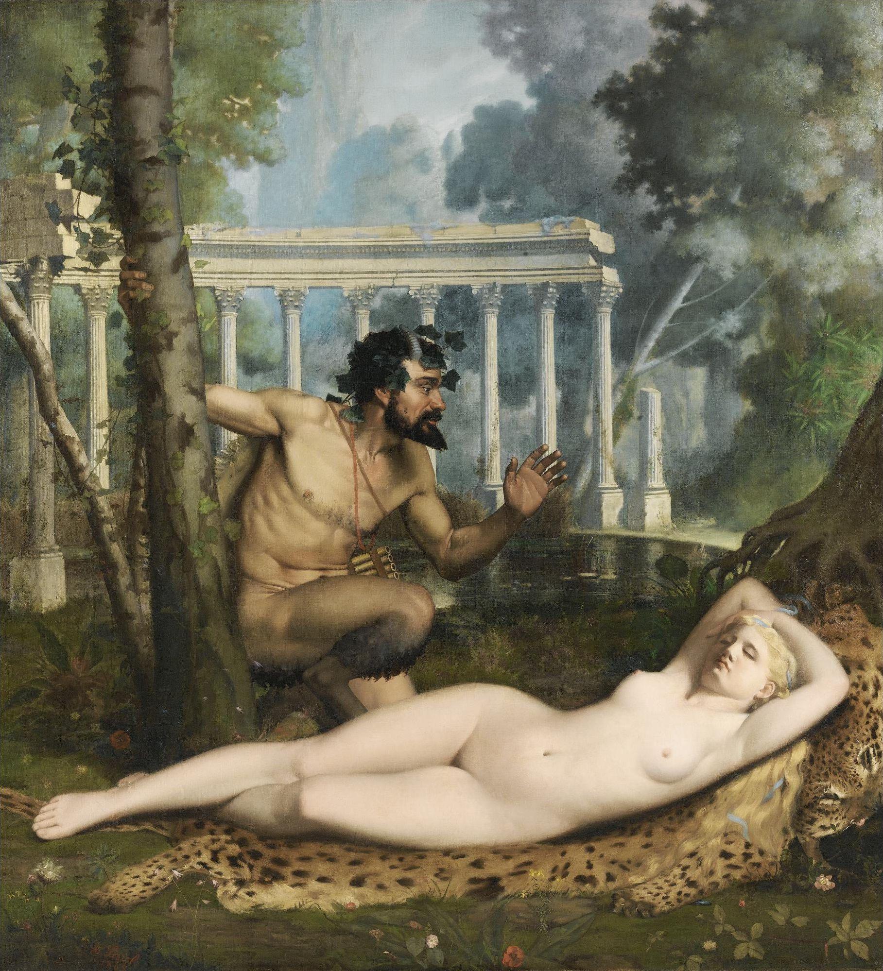 Adolphe-Alexandre Lesrel, 1839-1890. Пан и Венера. 1865. 176 х 161 см. Частная коллекция