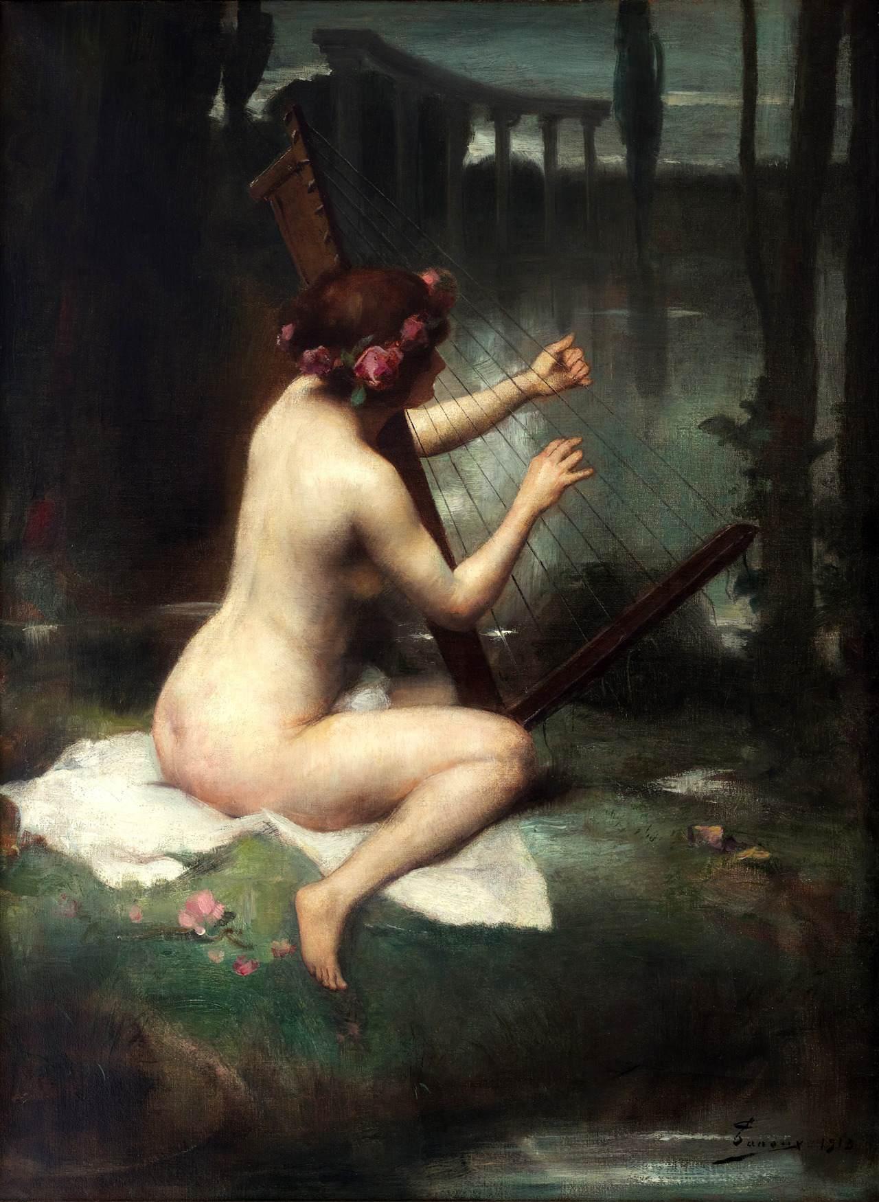 Adrien Henri Tanoux, 1865-1923. Игра на арфе. 1913. Частная коллекция