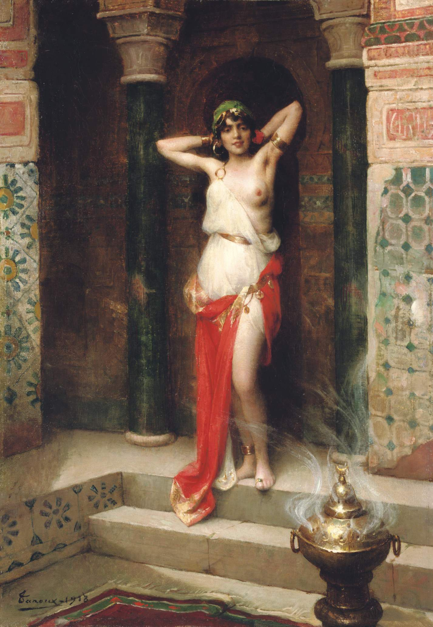 Adrien Henri Tanoux, 1865-1923. Красавица гарема. 1918. 55 х 38.4 см. Частная коллекция