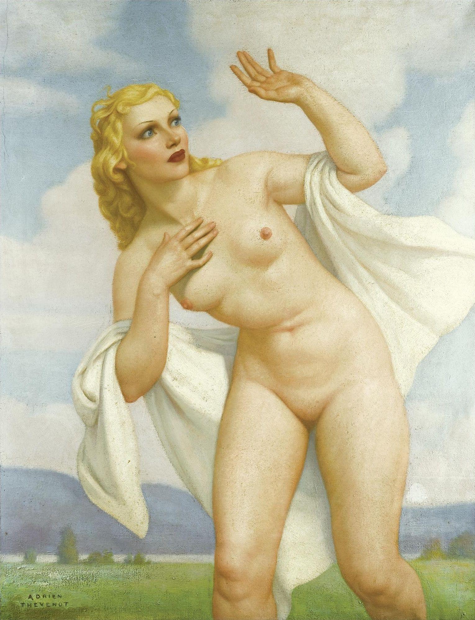 Adrien Thevenot, 1889-1922. Обнаженная в пейзаже. 125.5 х 96.8 см. Частная коллекция