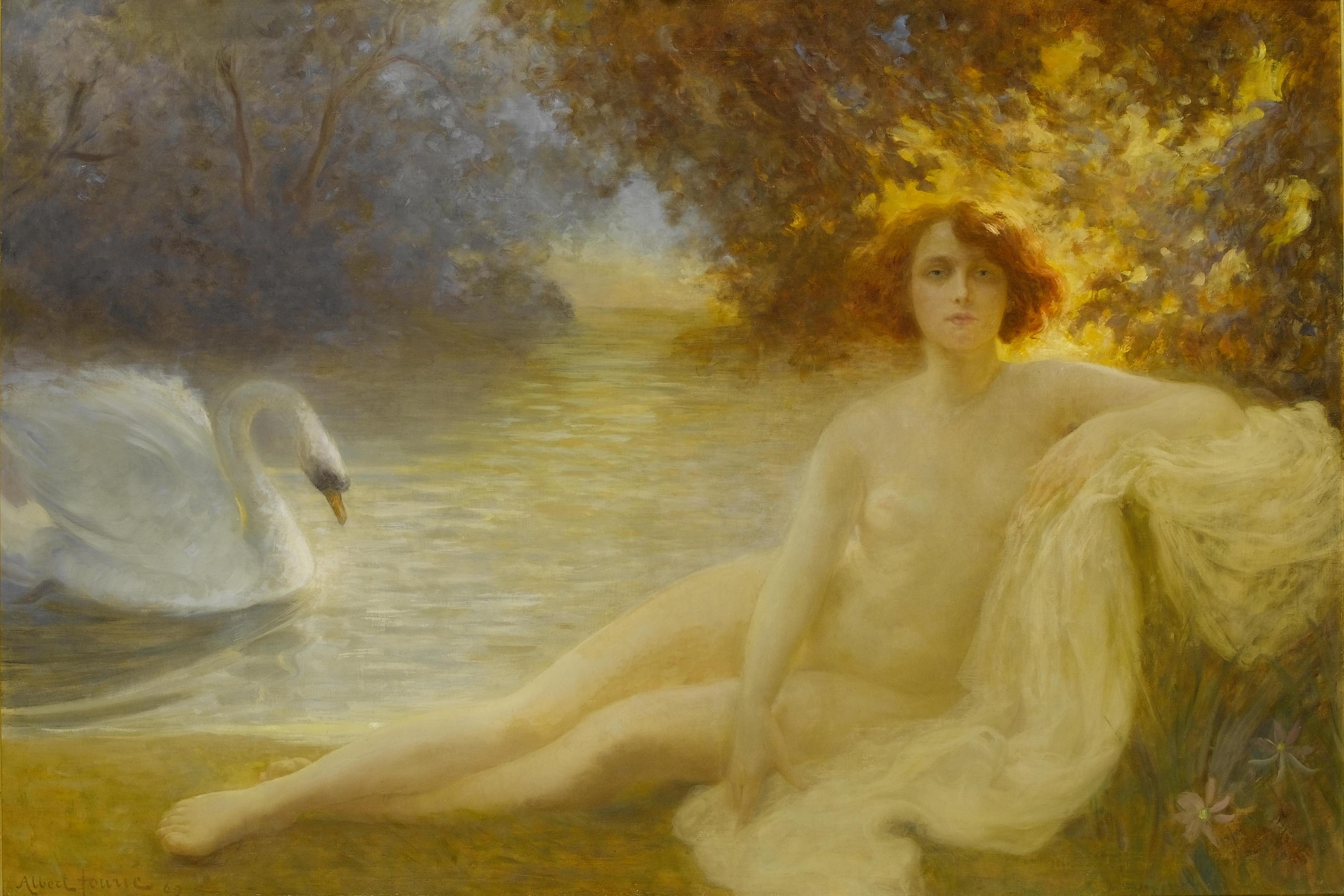 Albert Auguste Fourie, 1854-1896. Леда и лебедь. 1890. 120 х 177 см. Частная коллекция