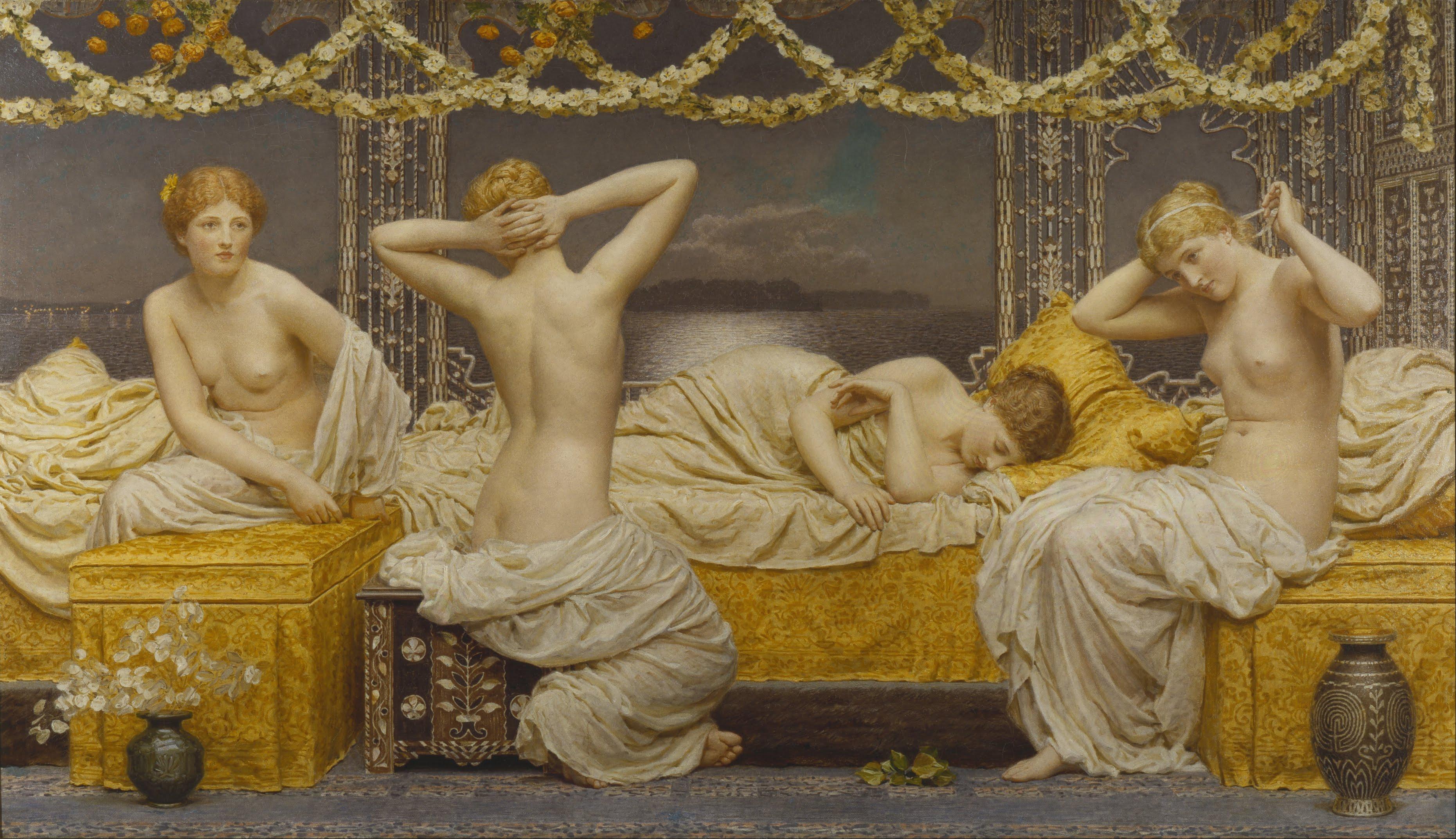 Albert Joseph Moore, 1841-1893. Летняя ночь. ок.1877. 132 х 228.5 см. Ливерпуль, Художественная галерея Уолкера