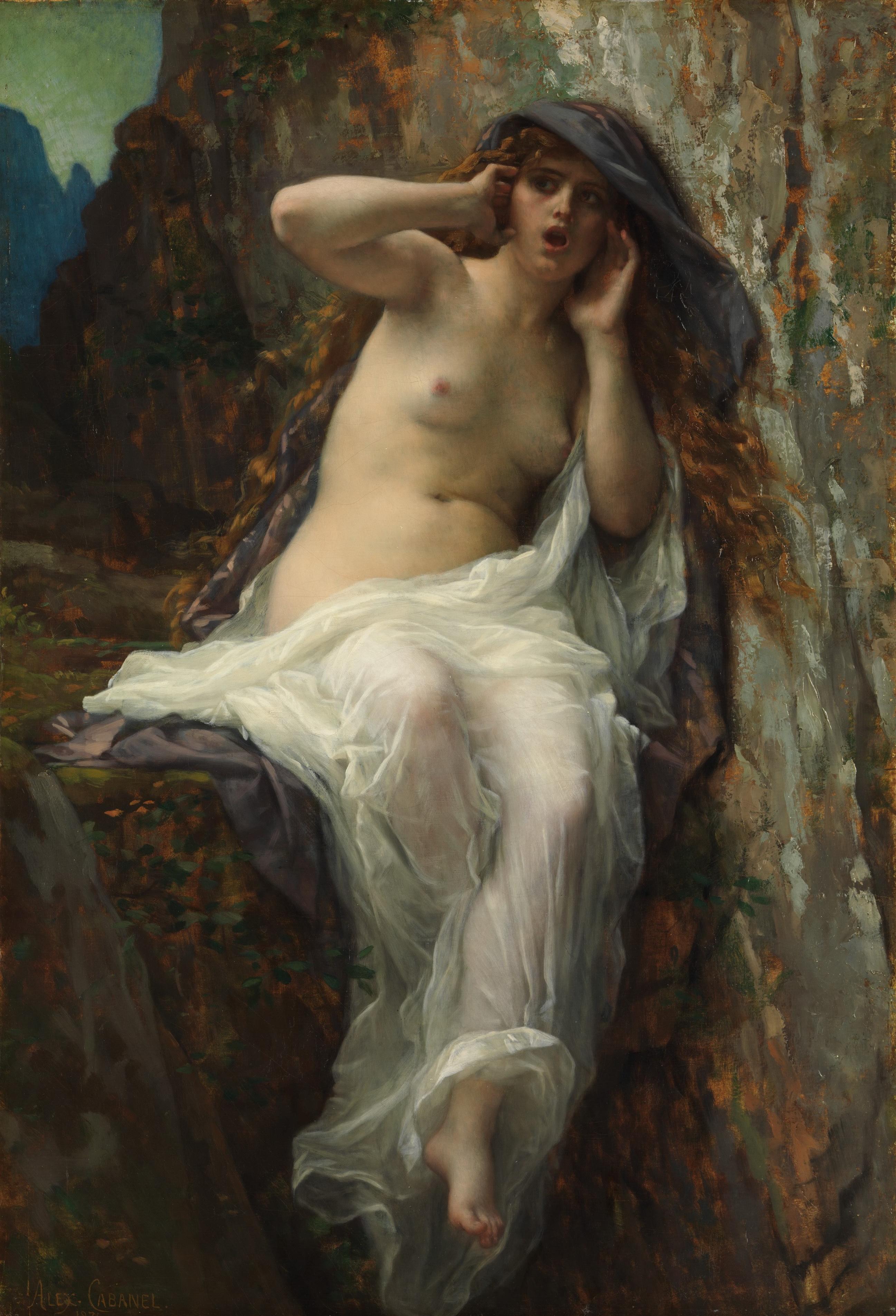 Alexandre Cabanel, 1824-1889. Эхо. 1874. 97.8 x 66.7 см. Нью-Йорк, Метрополитен