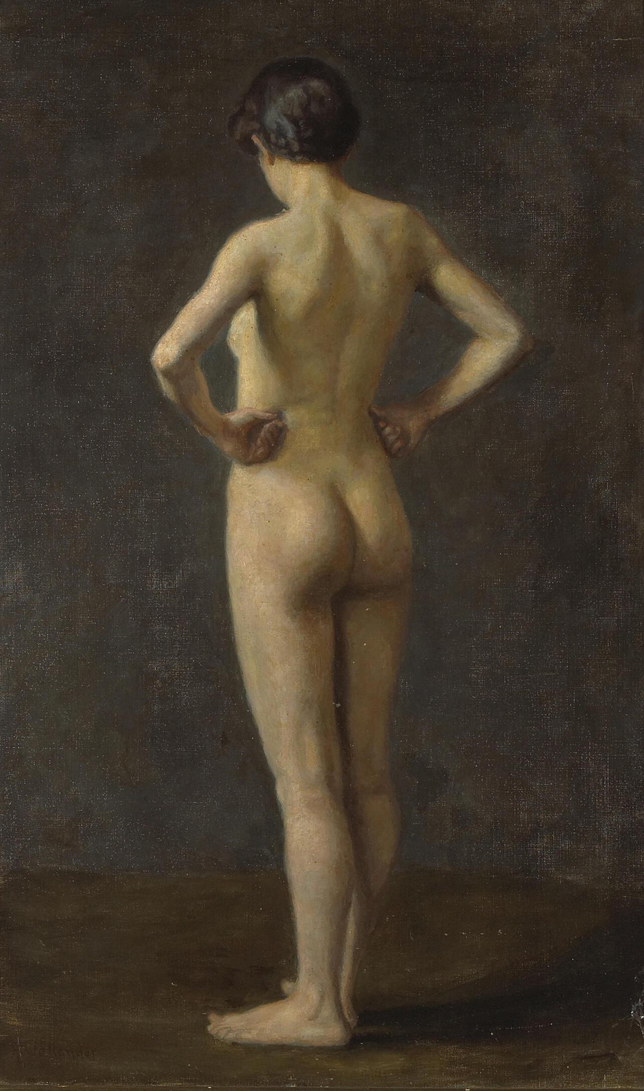 Alf Wallander, 1862-1914. Стоящая обнаженная. 76.8 х 48.3 см. Частная коллекция