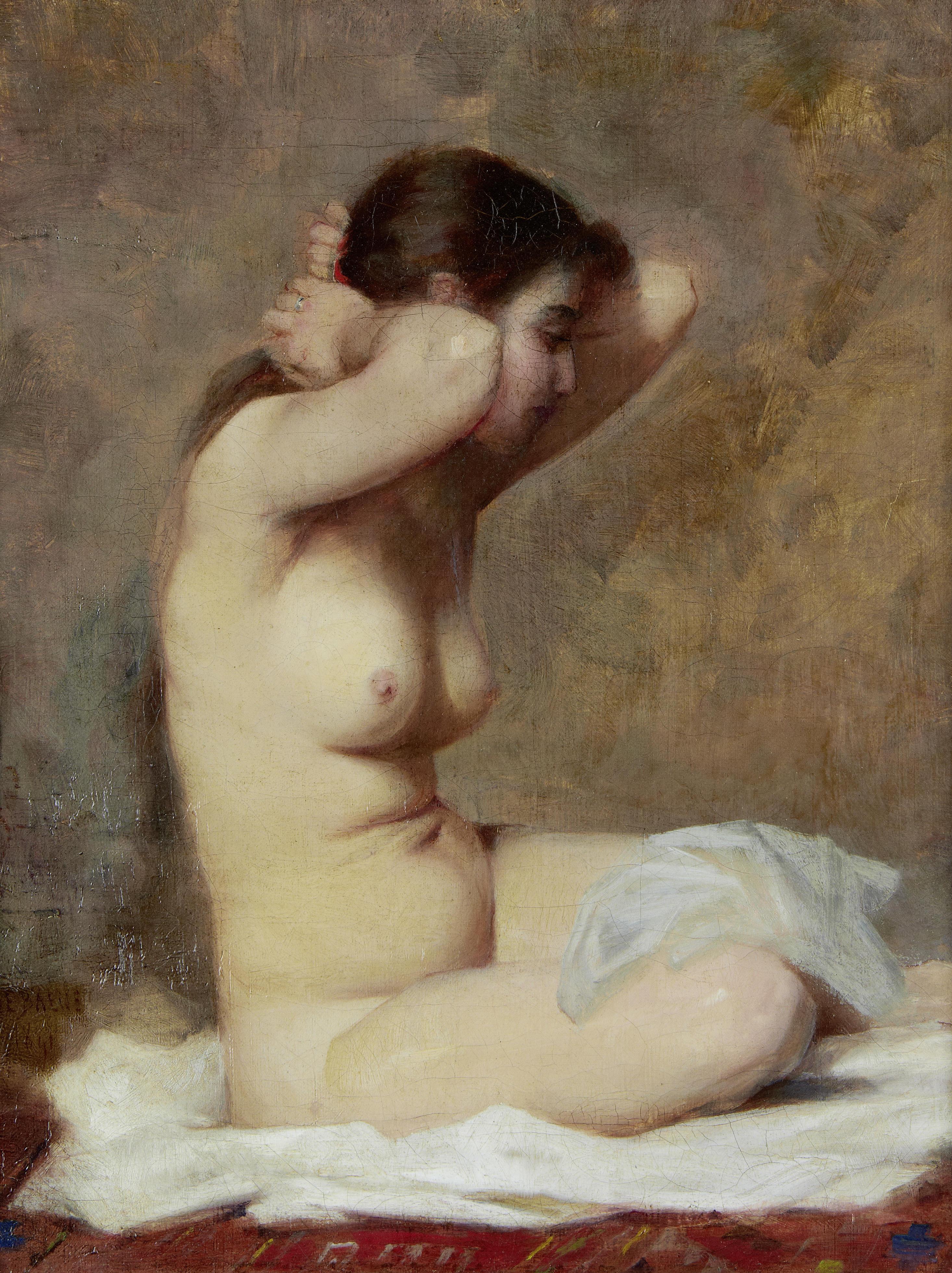 Alphonse Jules Debaene, XIX в. Обнаженная. 1841. 35 х 27 см. Частная коллекция