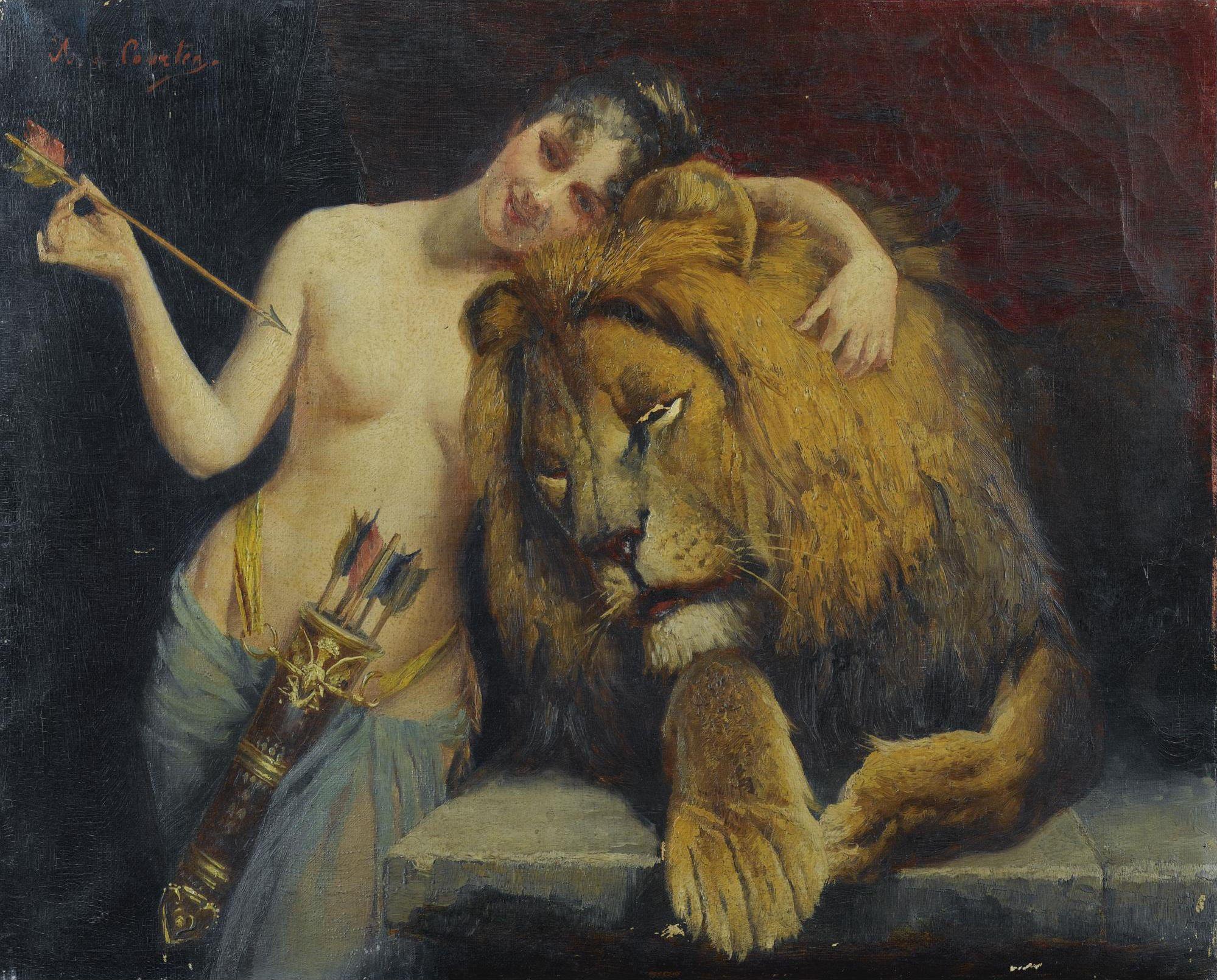 Angelo von Courten, 1848-1925. Диана и лев. 38 х 47 см. Частная коллекция