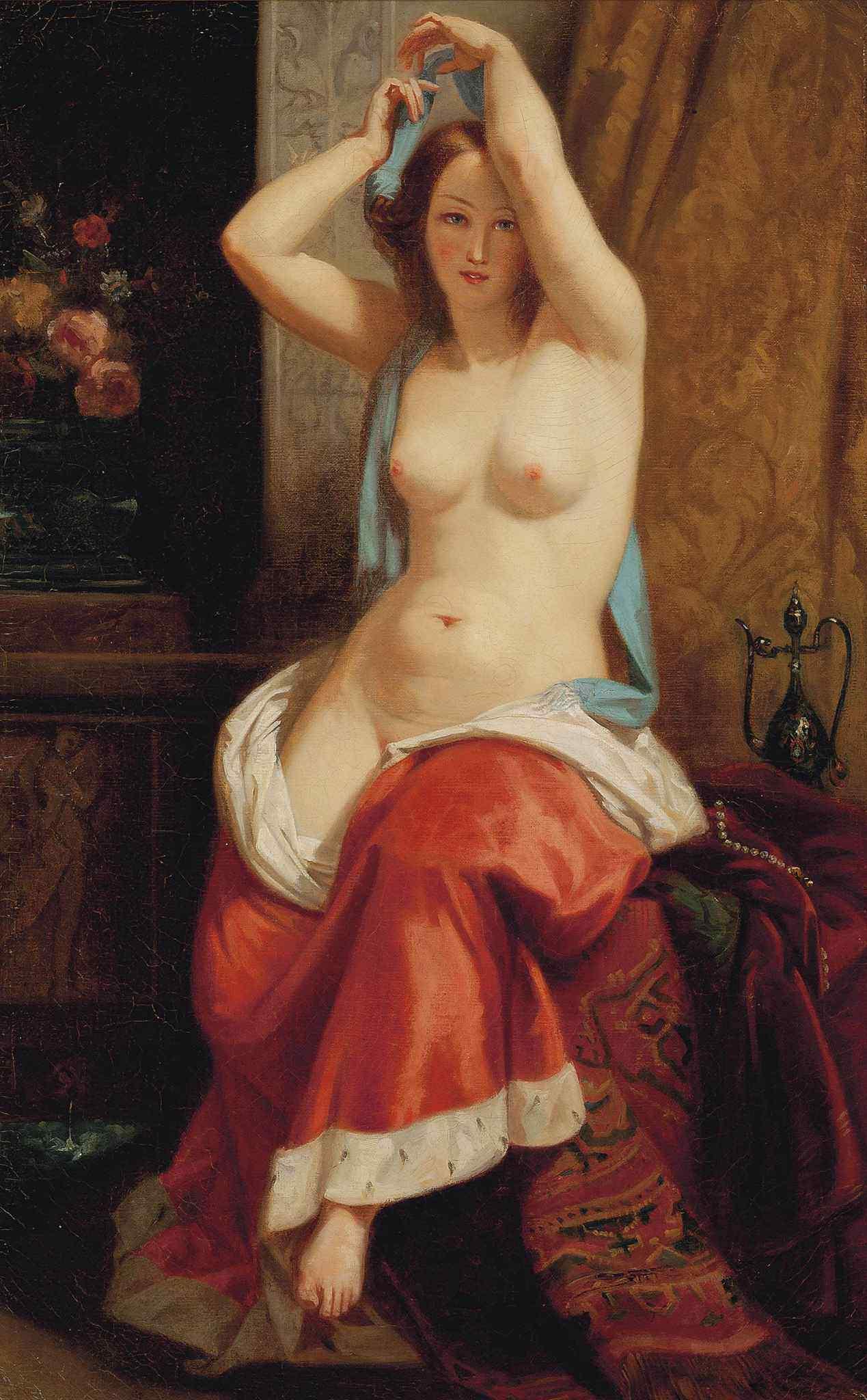 Charles-Edouard Boutibonne, 1816-1897 (круг). Раздевающаяся красавица. 76.2 х 45.8 см. Частная коллекция